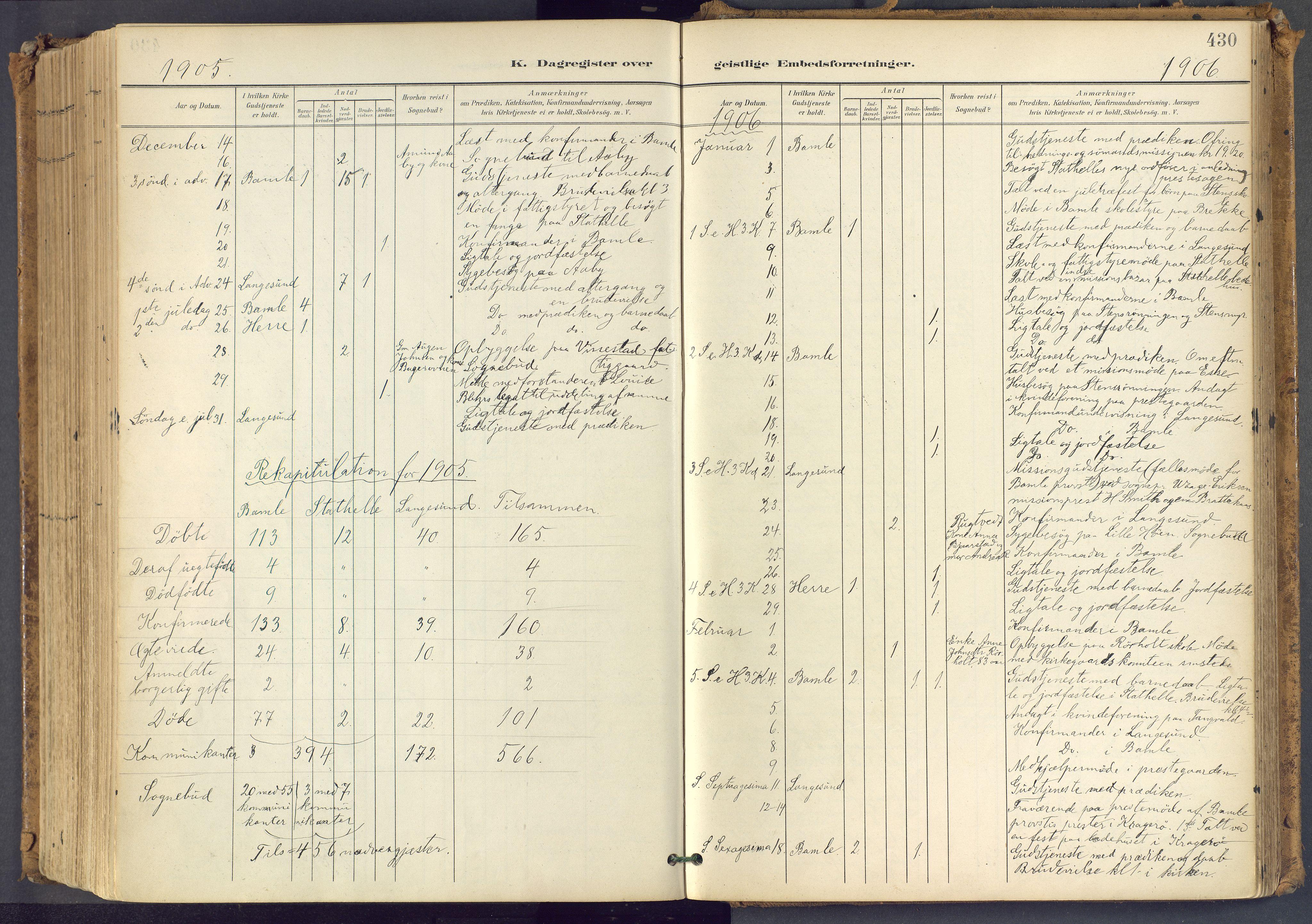 SAKO, Bamble kirkebøker, F/Fa/L0009: Ministerialbok nr. I 9, 1901-1917, s. 430