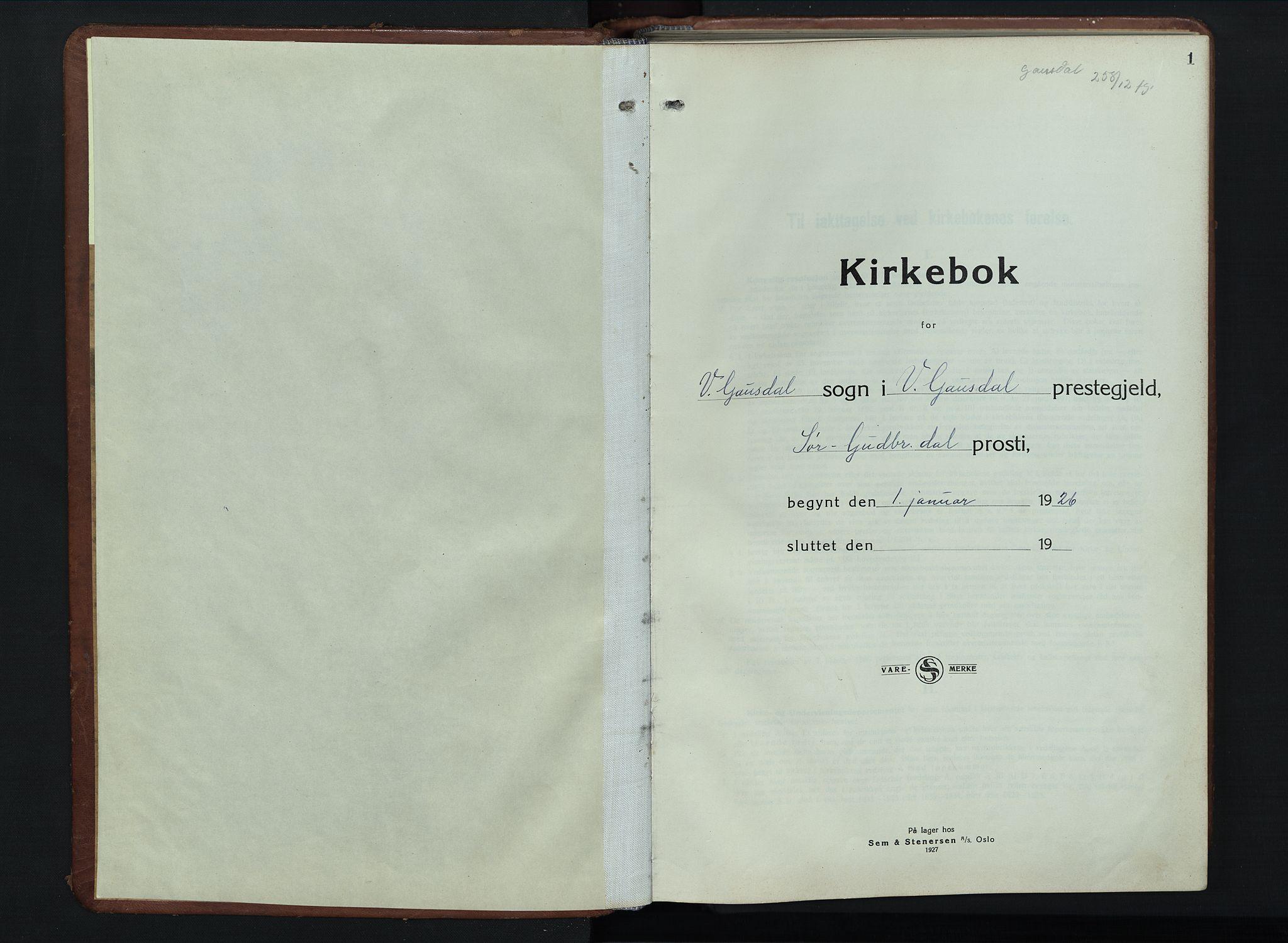 SAH, Vestre Gausdal prestekontor, Klokkerbok nr. 5, 1926-1955, s. 1