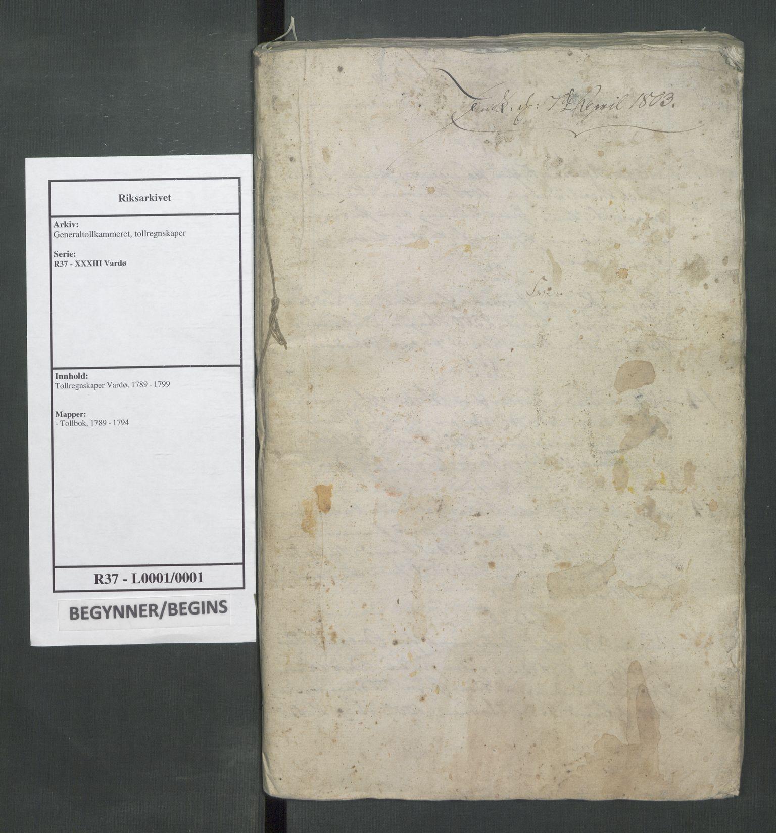 RA, Generaltollkammeret, tollregnskaper, R37/L0001: Tollregnskaper Vardø, 1789-1794