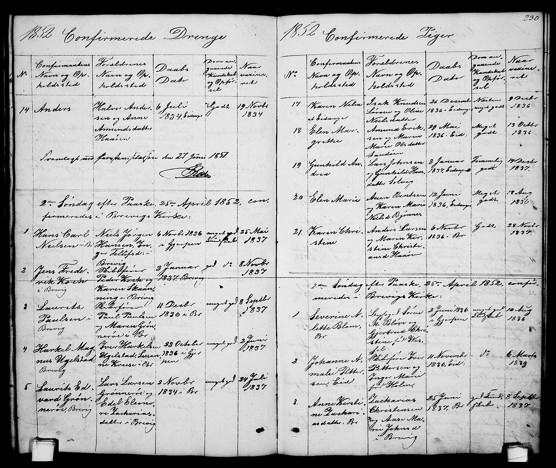 SAKO, Brevik kirkebøker, G/Ga/L0002: Klokkerbok nr. 2, 1846-1865, s. 230
