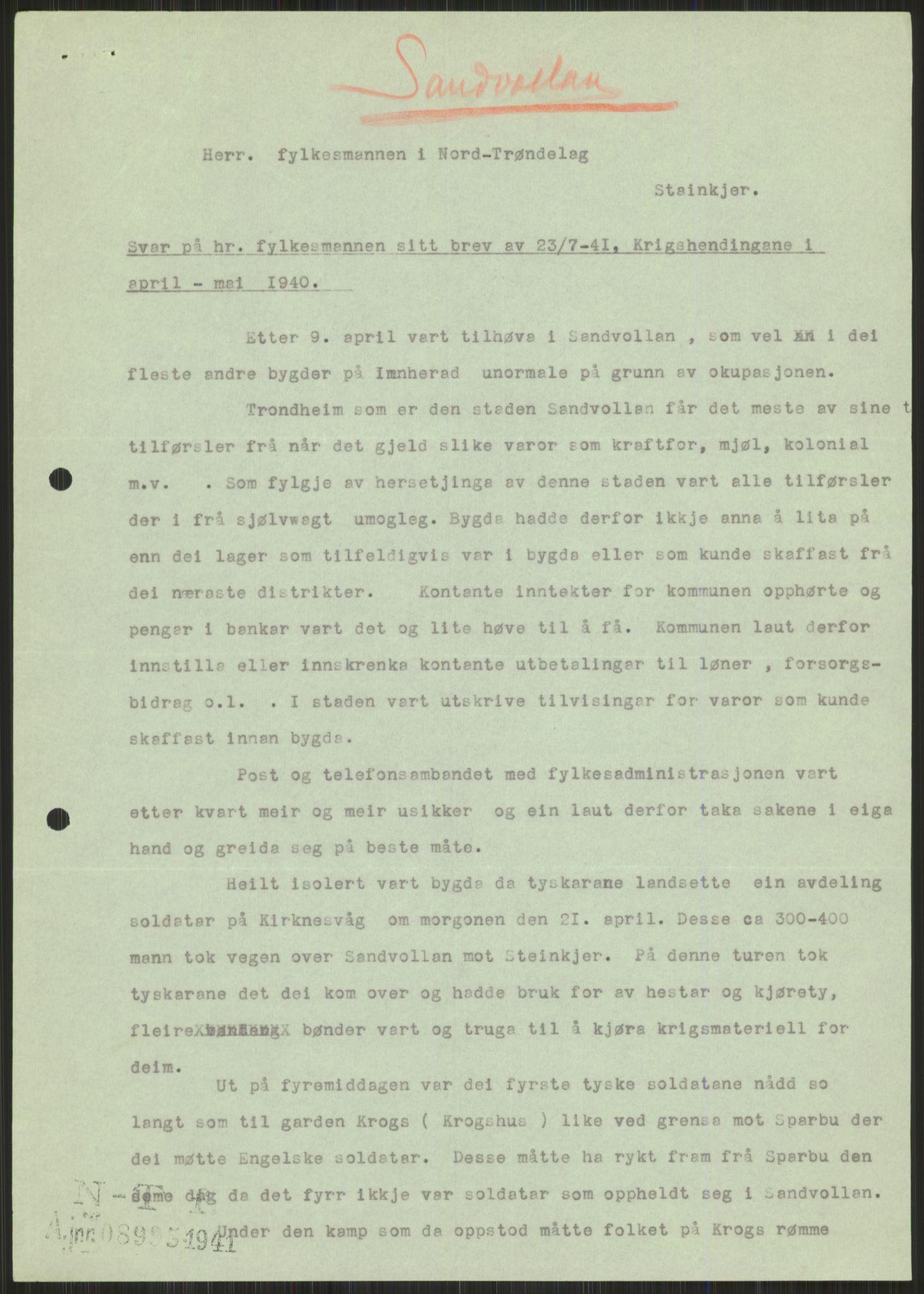 RA, Forsvaret, Forsvarets krigshistoriske avdeling, Y/Ya/L0016: II-C-11-31 - Fylkesmenn.  Rapporter om krigsbegivenhetene 1940., 1940, s. 558
