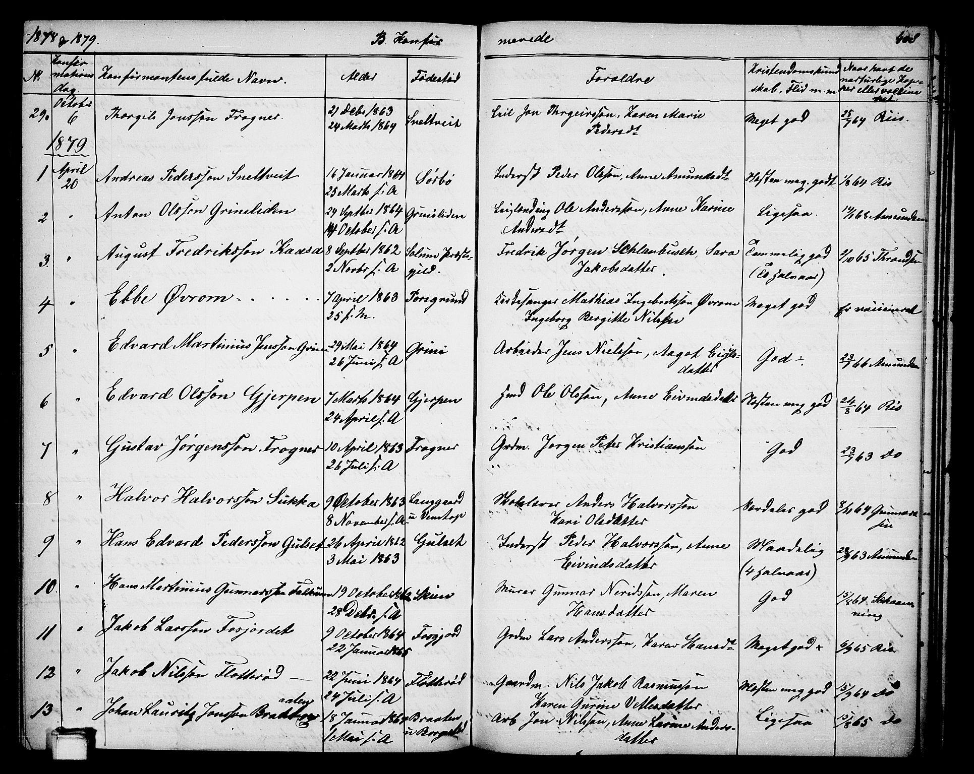 SAKO, Gjerpen kirkebøker, G/Ga/L0001: Klokkerbok nr. I 1, 1864-1882, s. 408