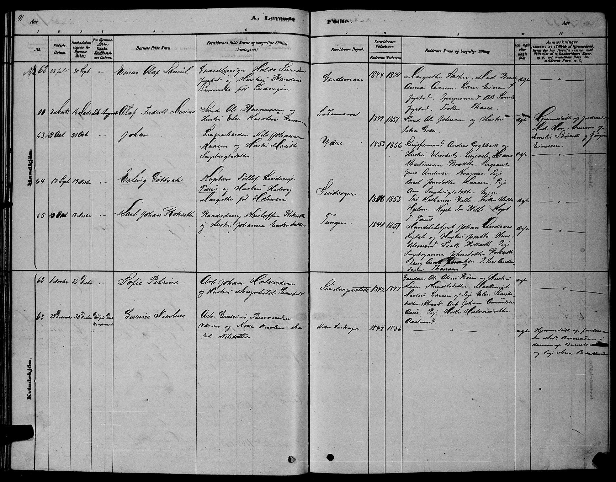 SAT, Ministerialprotokoller, klokkerbøker og fødselsregistre - Sør-Trøndelag, 606/L0312: Klokkerbok nr. 606C08, 1878-1894, s. 91