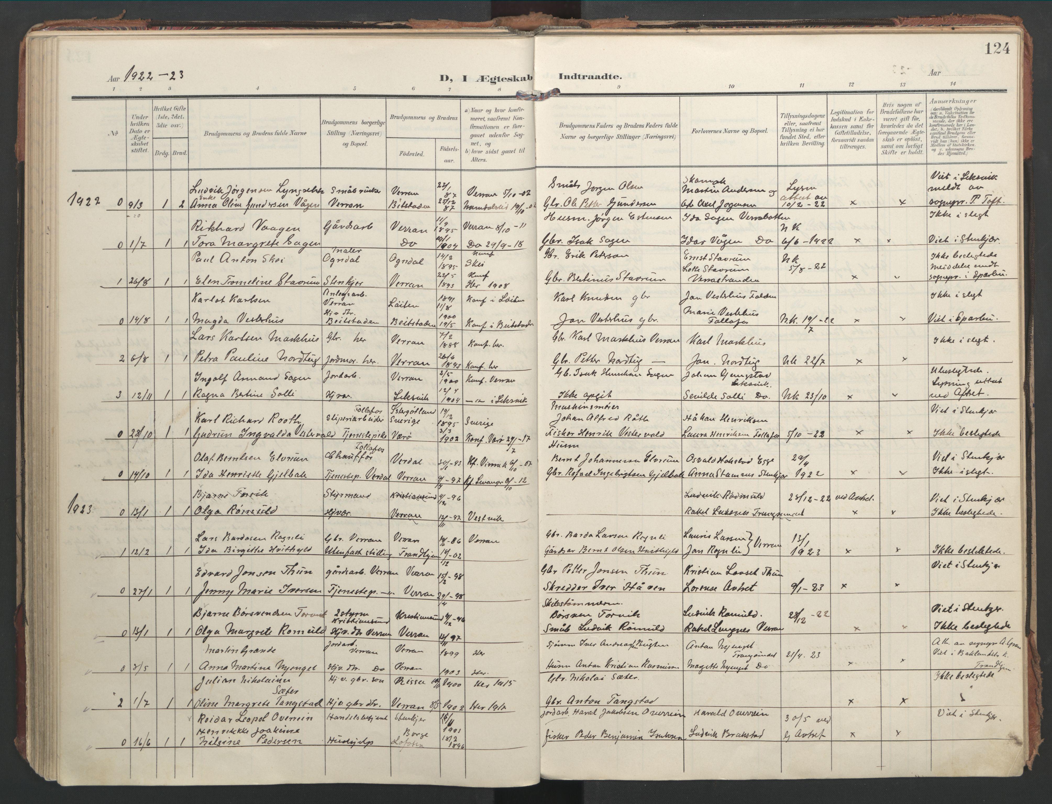 SAT, Ministerialprotokoller, klokkerbøker og fødselsregistre - Nord-Trøndelag, 744/L0421: Ministerialbok nr. 744A05, 1905-1930, s. 124