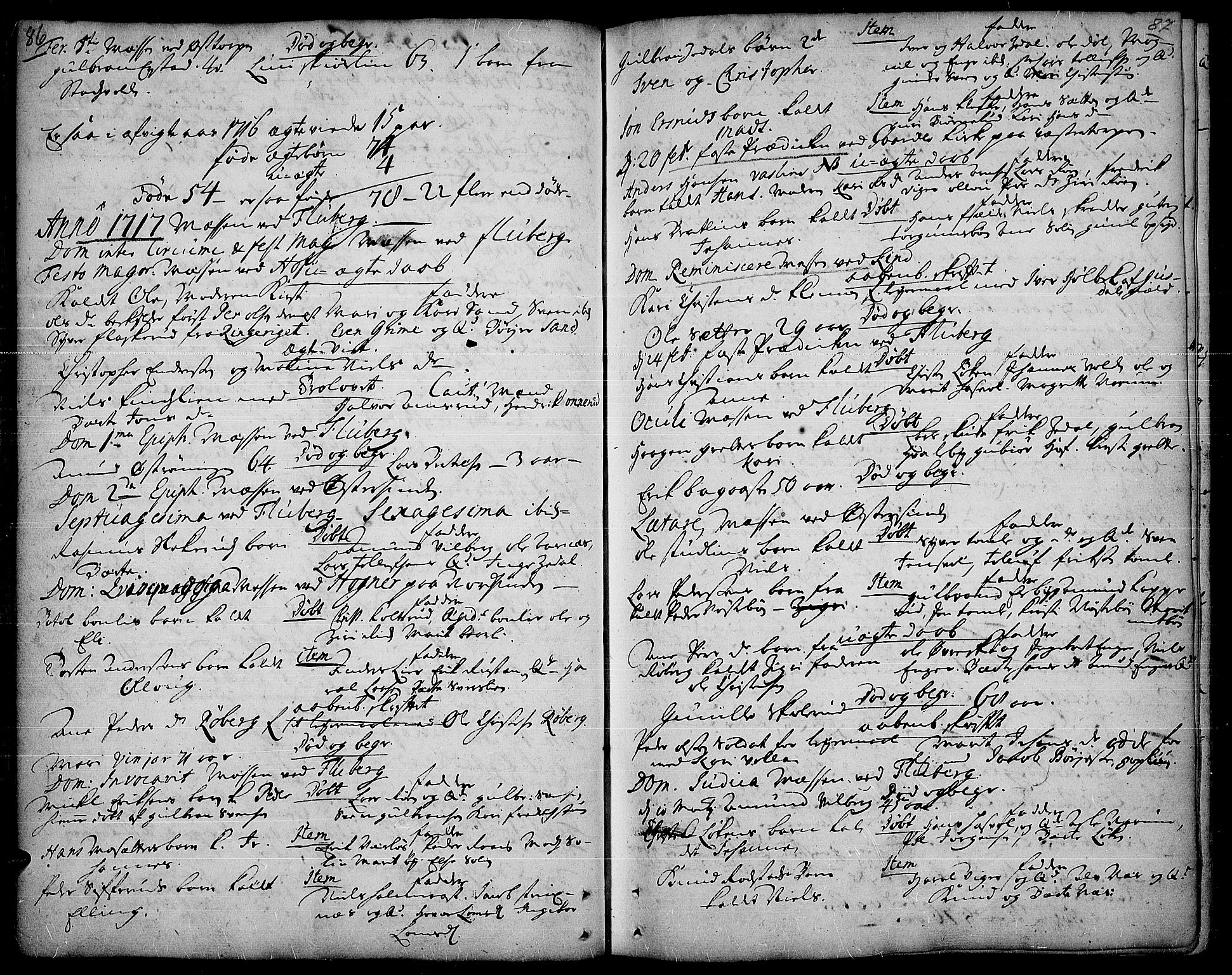 SAH, Land prestekontor, Ministerialbok nr. 1, 1708-1732, s. 86-87