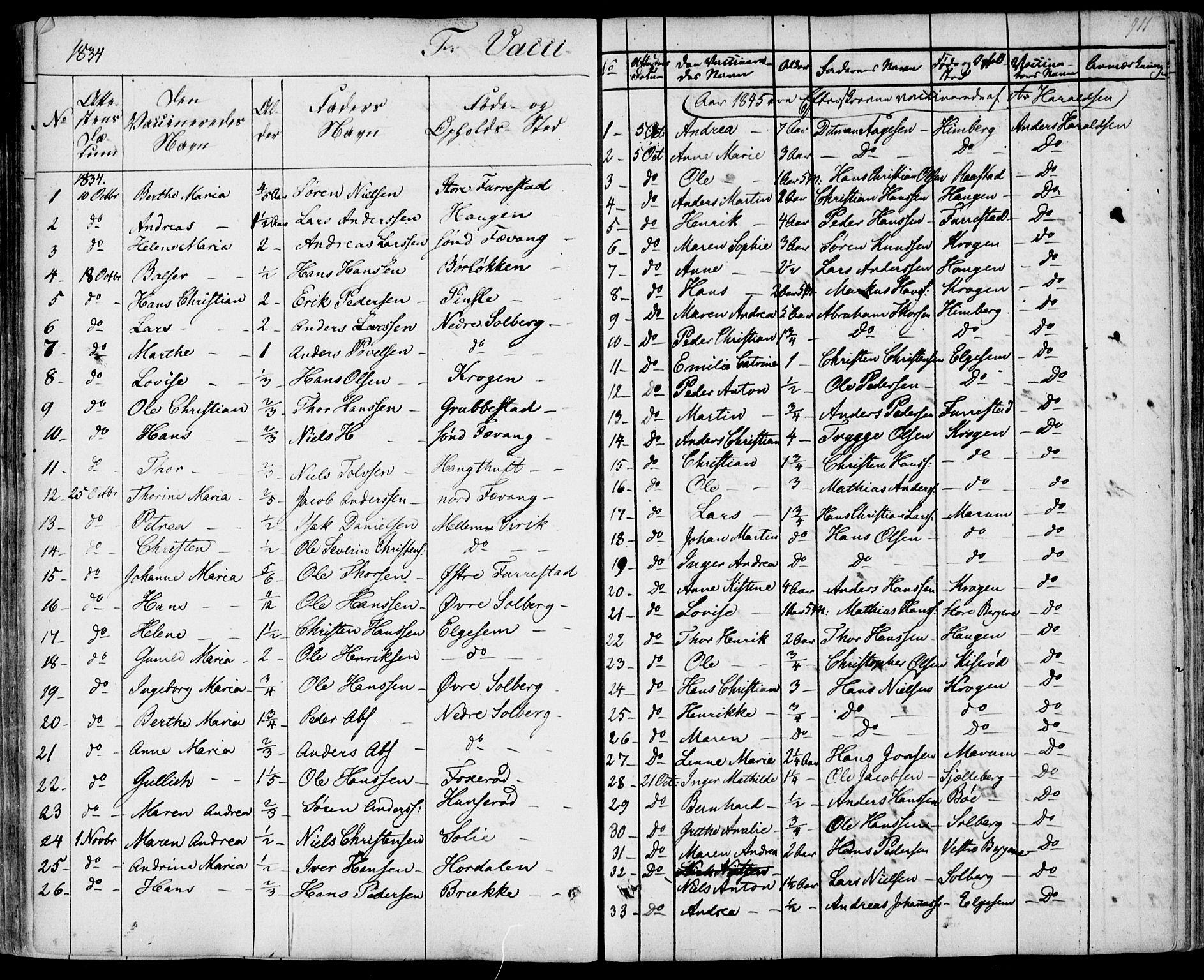 SAKO, Sandar kirkebøker, F/Fa/L0005: Ministerialbok nr. 5, 1832-1847, s. 910-911