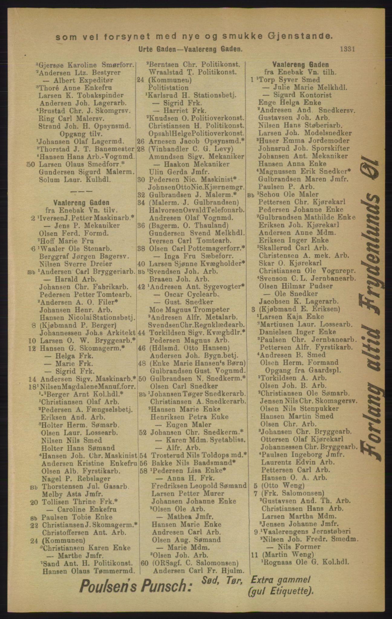 RA, Kristiania adressebok (publikasjon)*, 1906, s. 1331