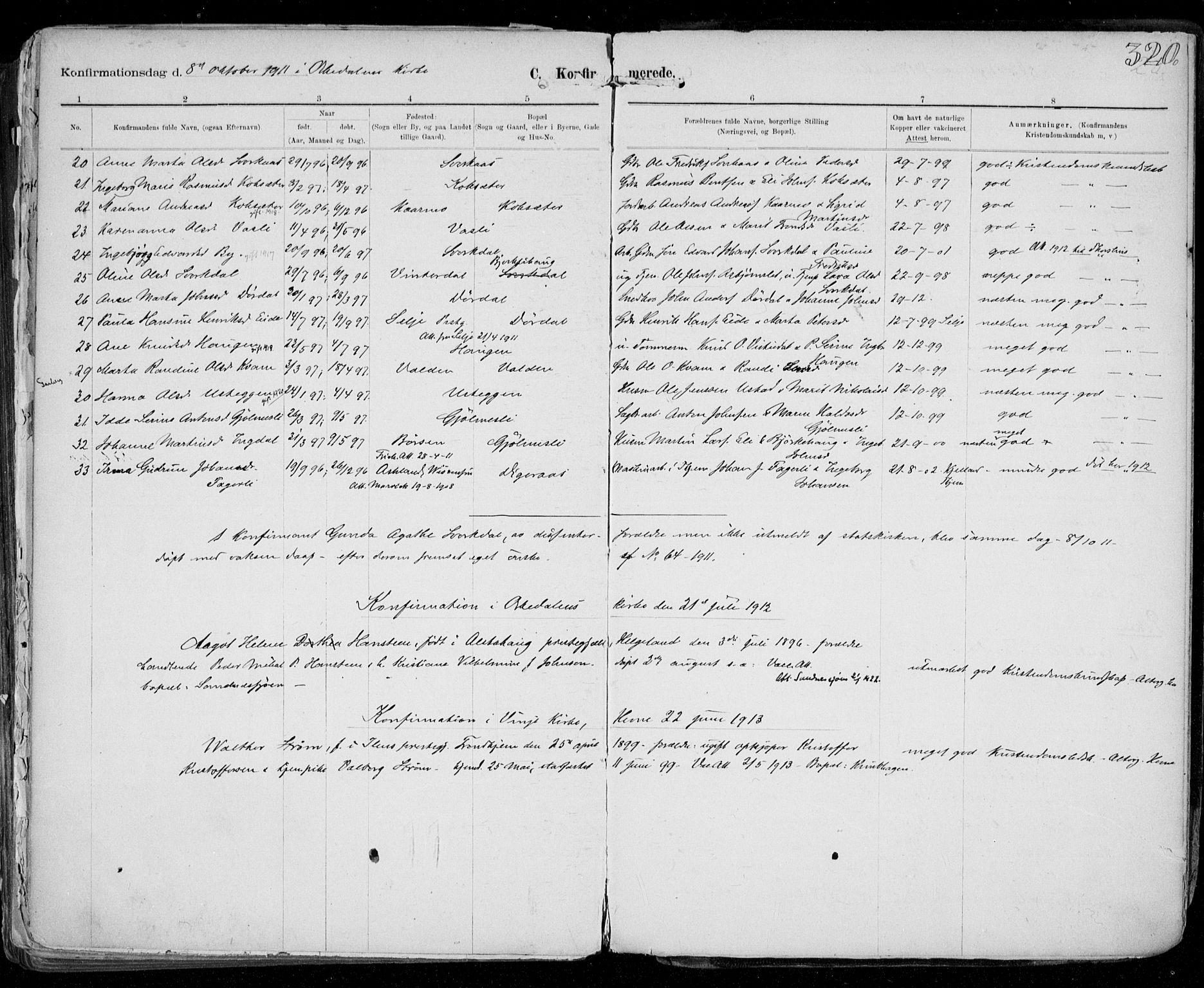 SAT, Ministerialprotokoller, klokkerbøker og fødselsregistre - Sør-Trøndelag, 668/L0811: Ministerialbok nr. 668A11, 1894-1913, s. 320