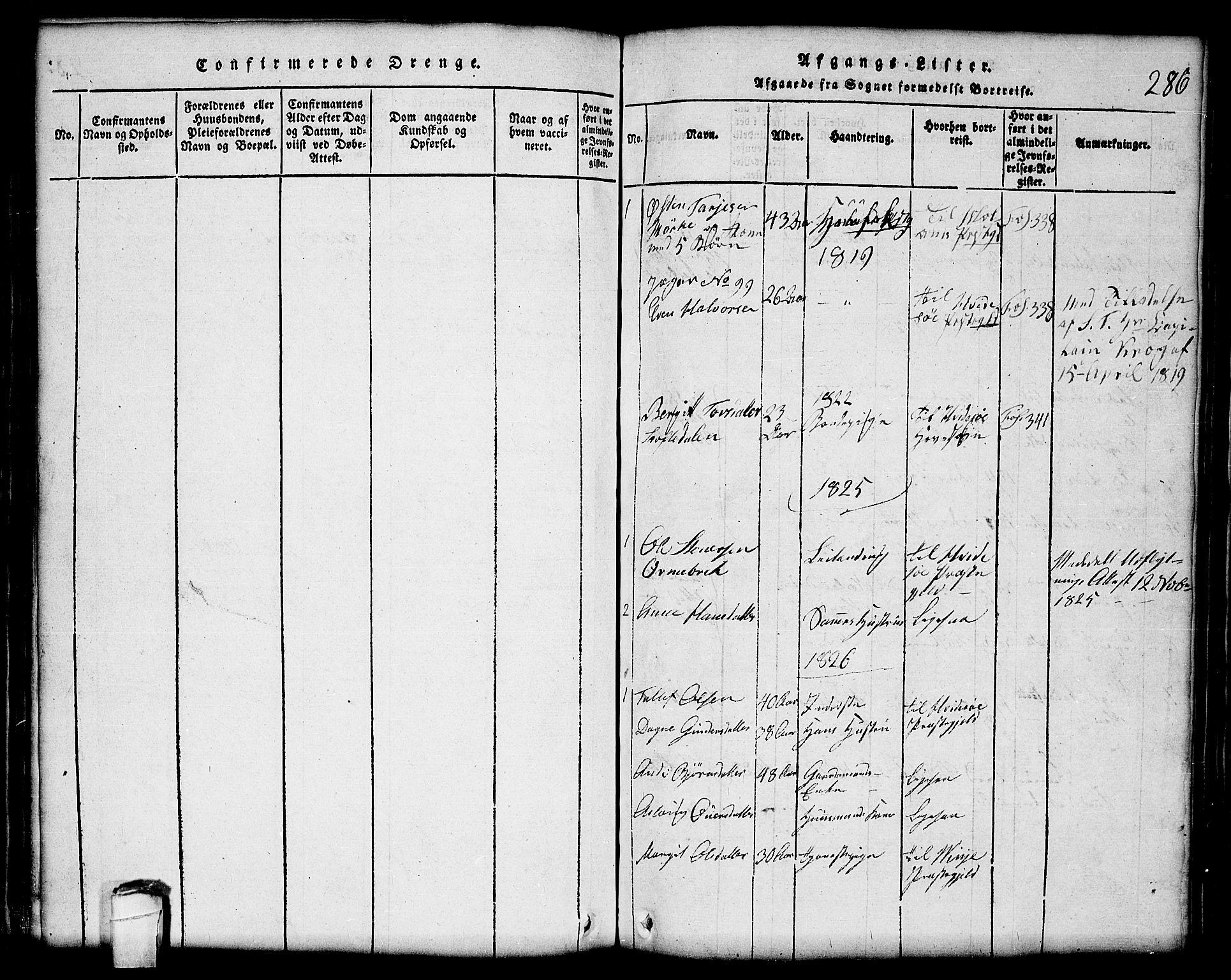 SAKO, Lårdal kirkebøker, G/Gc/L0001: Klokkerbok nr. III 1, 1815-1854, s. 286