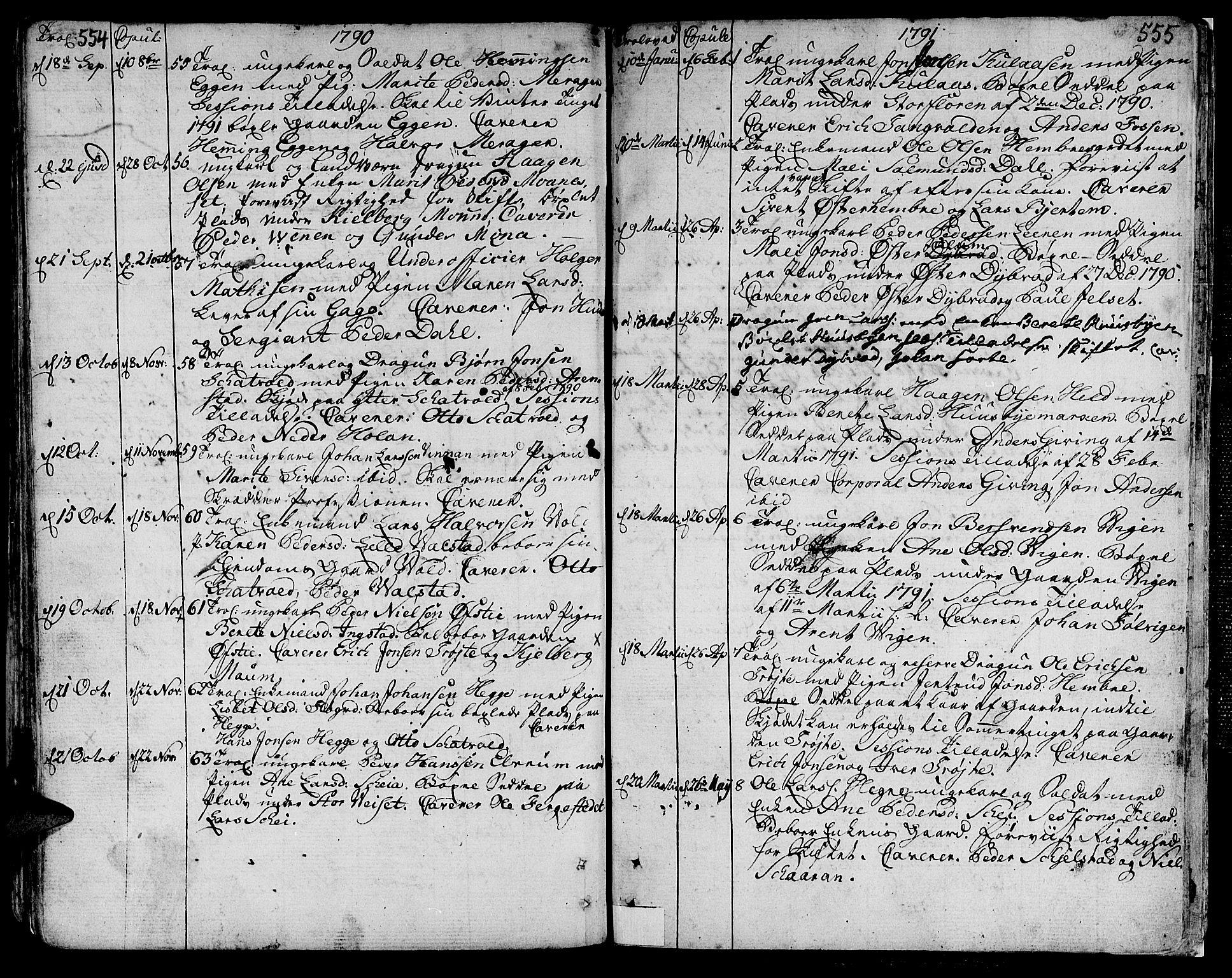 SAT, Ministerialprotokoller, klokkerbøker og fødselsregistre - Nord-Trøndelag, 709/L0059: Ministerialbok nr. 709A06, 1781-1797, s. 554-555