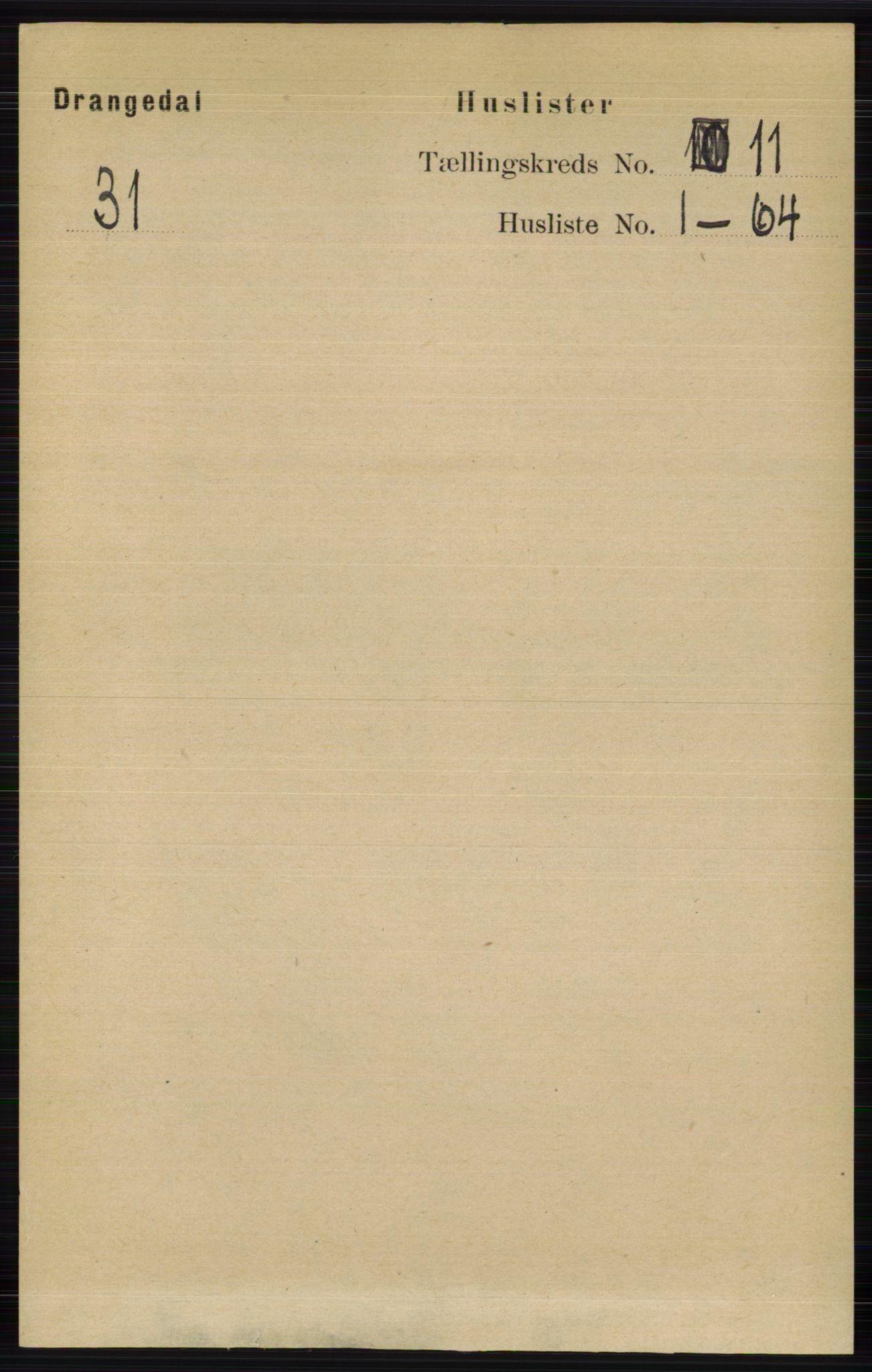 RA, Folketelling 1891 for 0817 Drangedal herred, 1891, s. 3842