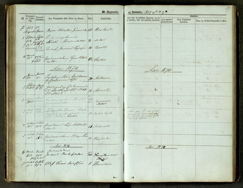 SAKO, Lårdal kirkebøker, G/Ga/L0002: Klokkerbok nr. I 2, 1861-1890, s. 87