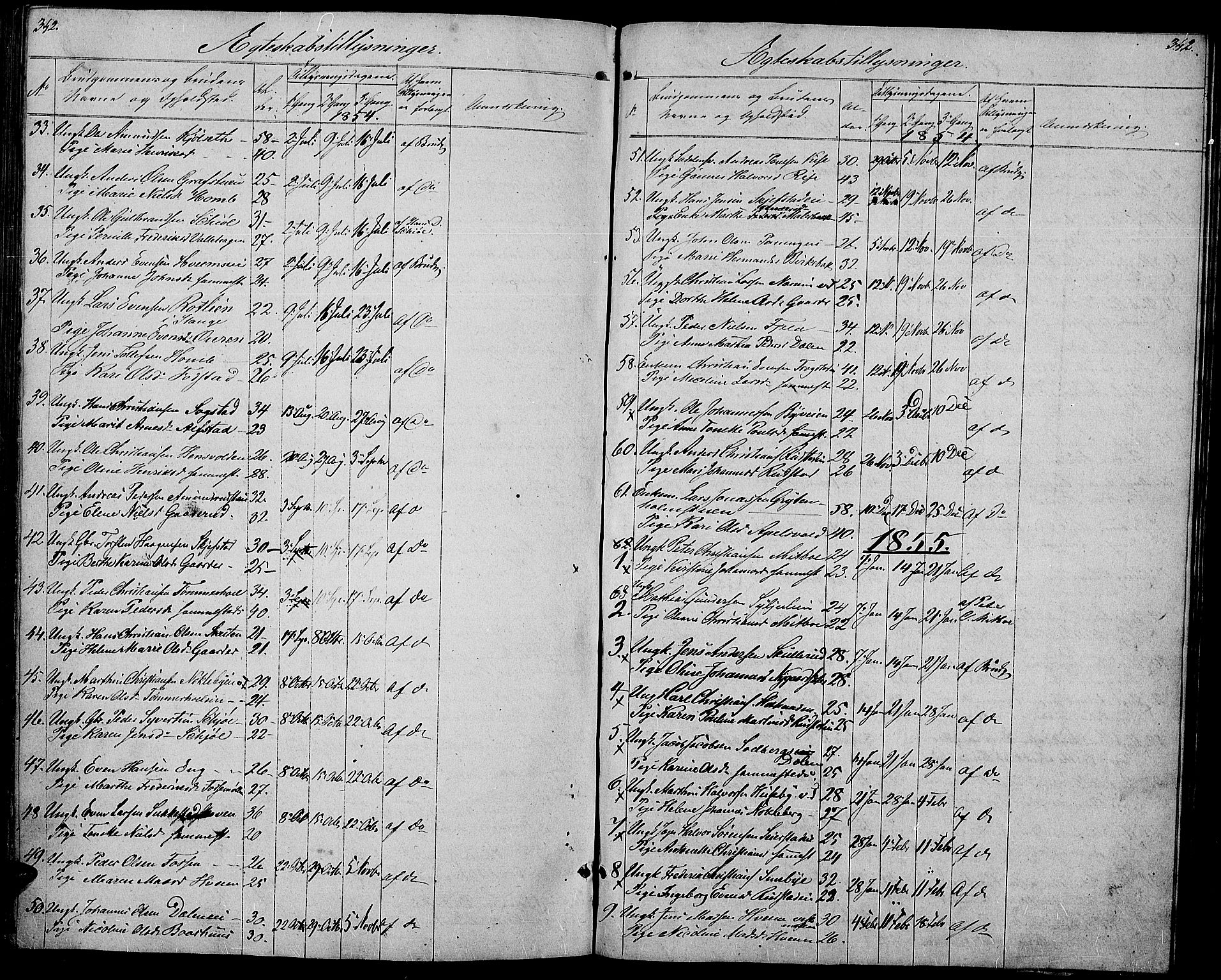 SAH, Østre Toten prestekontor, Klokkerbok nr. 3, 1848-1857, s. 342