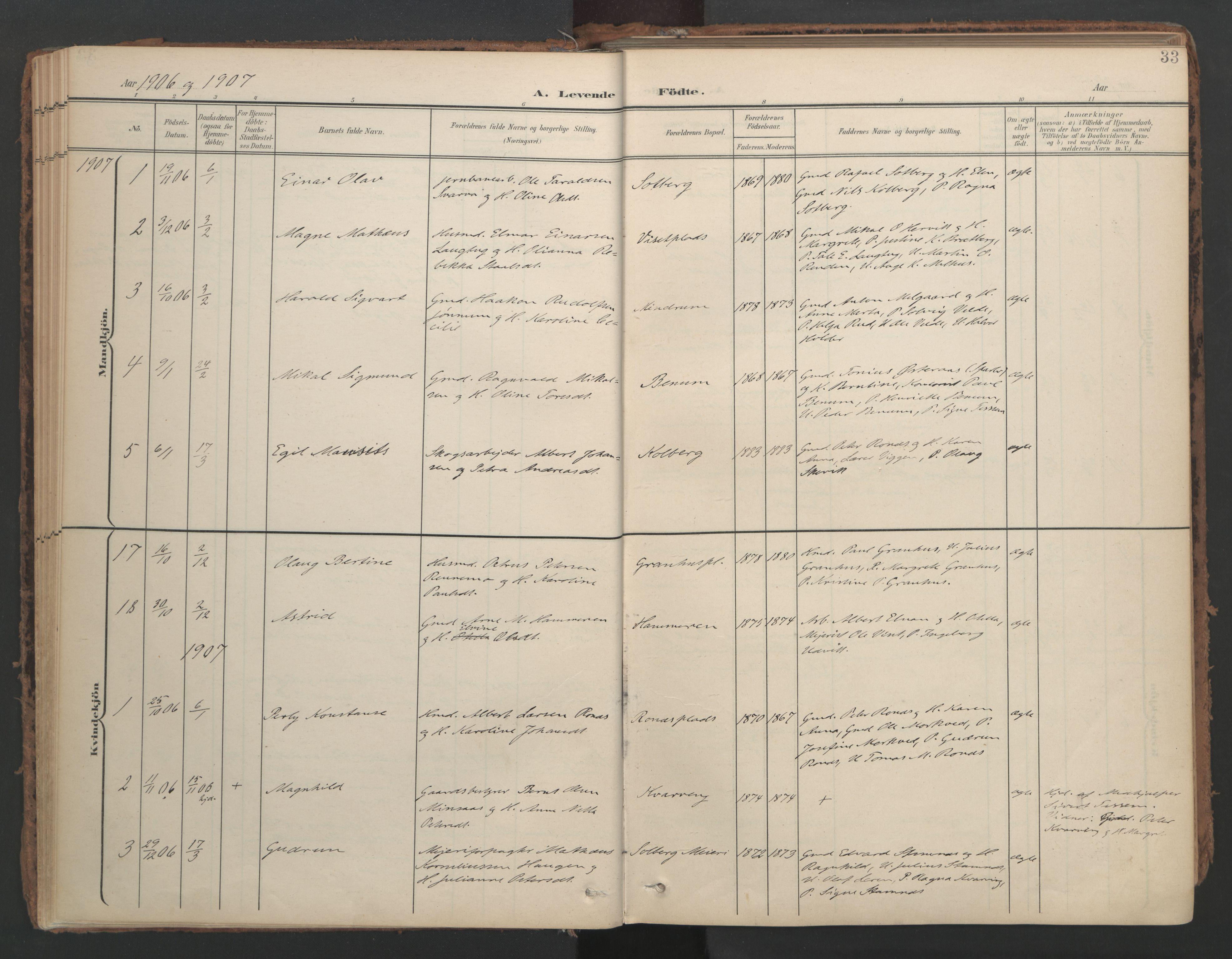 SAT, Ministerialprotokoller, klokkerbøker og fødselsregistre - Nord-Trøndelag, 741/L0397: Ministerialbok nr. 741A11, 1901-1911, s. 33
