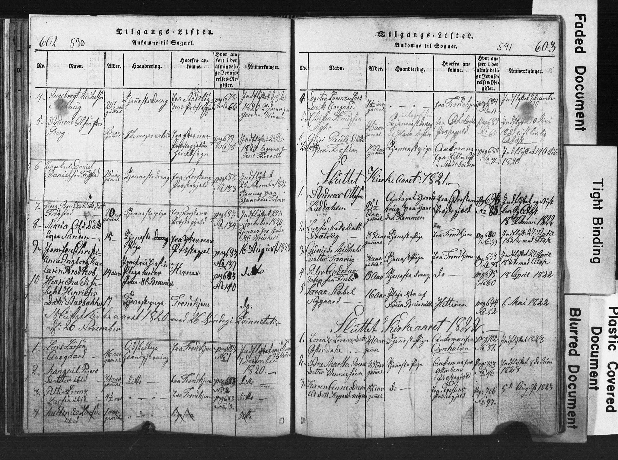 SAT, Ministerialprotokoller, klokkerbøker og fødselsregistre - Nord-Trøndelag, 701/L0017: Klokkerbok nr. 701C01, 1817-1825, s. 590-591
