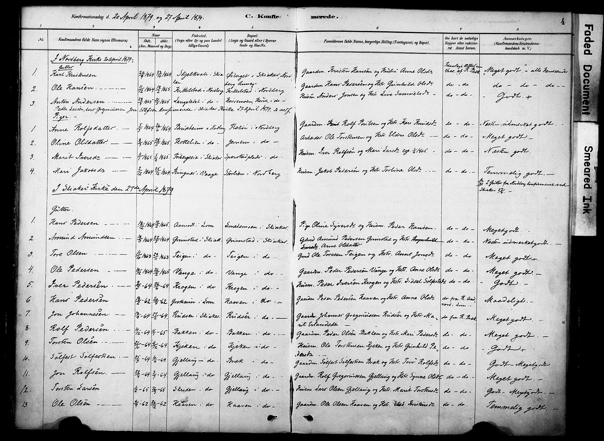 SAH, Skjåk prestekontor, Ministerialbok nr. 2, 1878-1907, s. 4