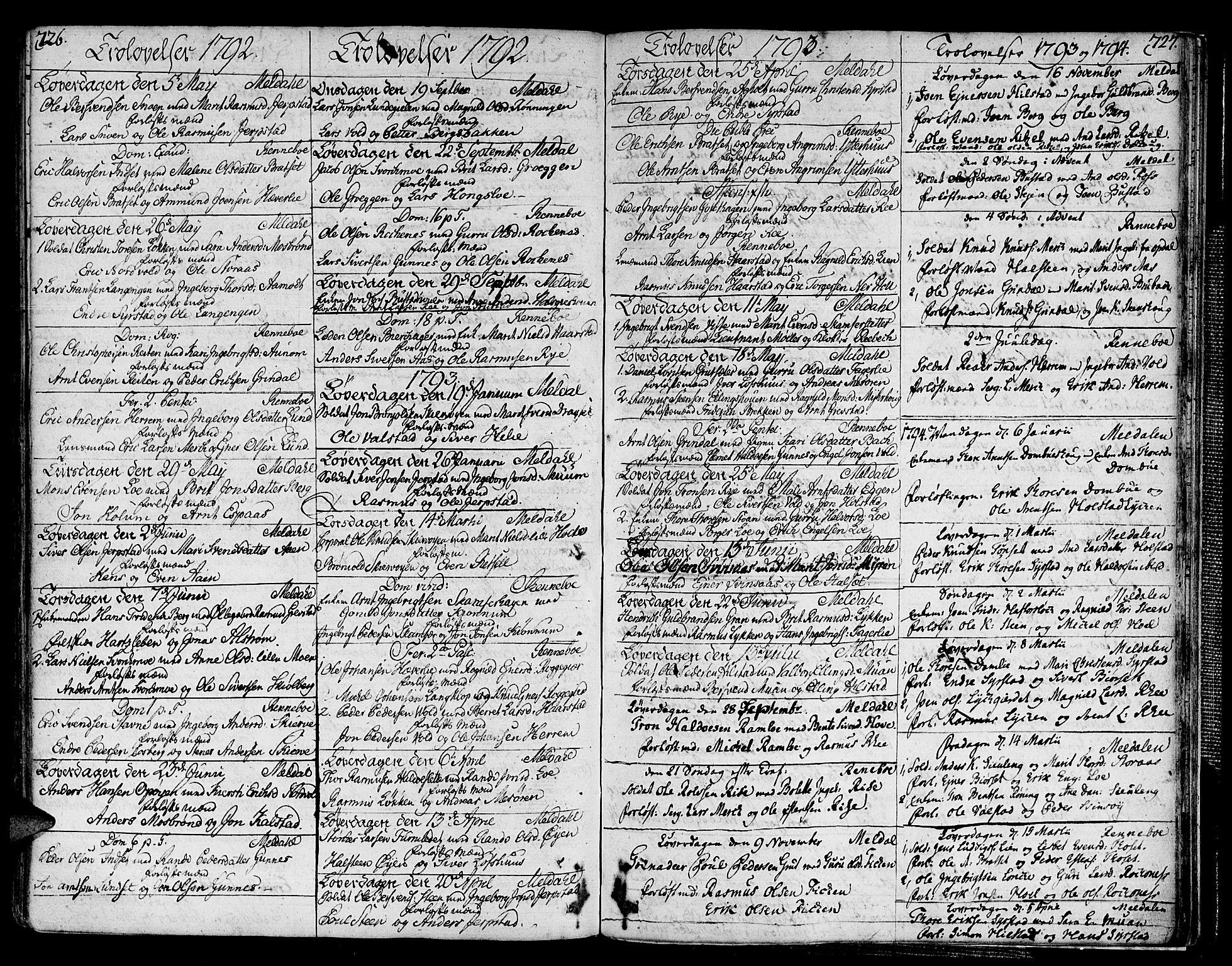 SAT, Ministerialprotokoller, klokkerbøker og fødselsregistre - Sør-Trøndelag, 672/L0852: Ministerialbok nr. 672A05, 1776-1815, s. 726-727