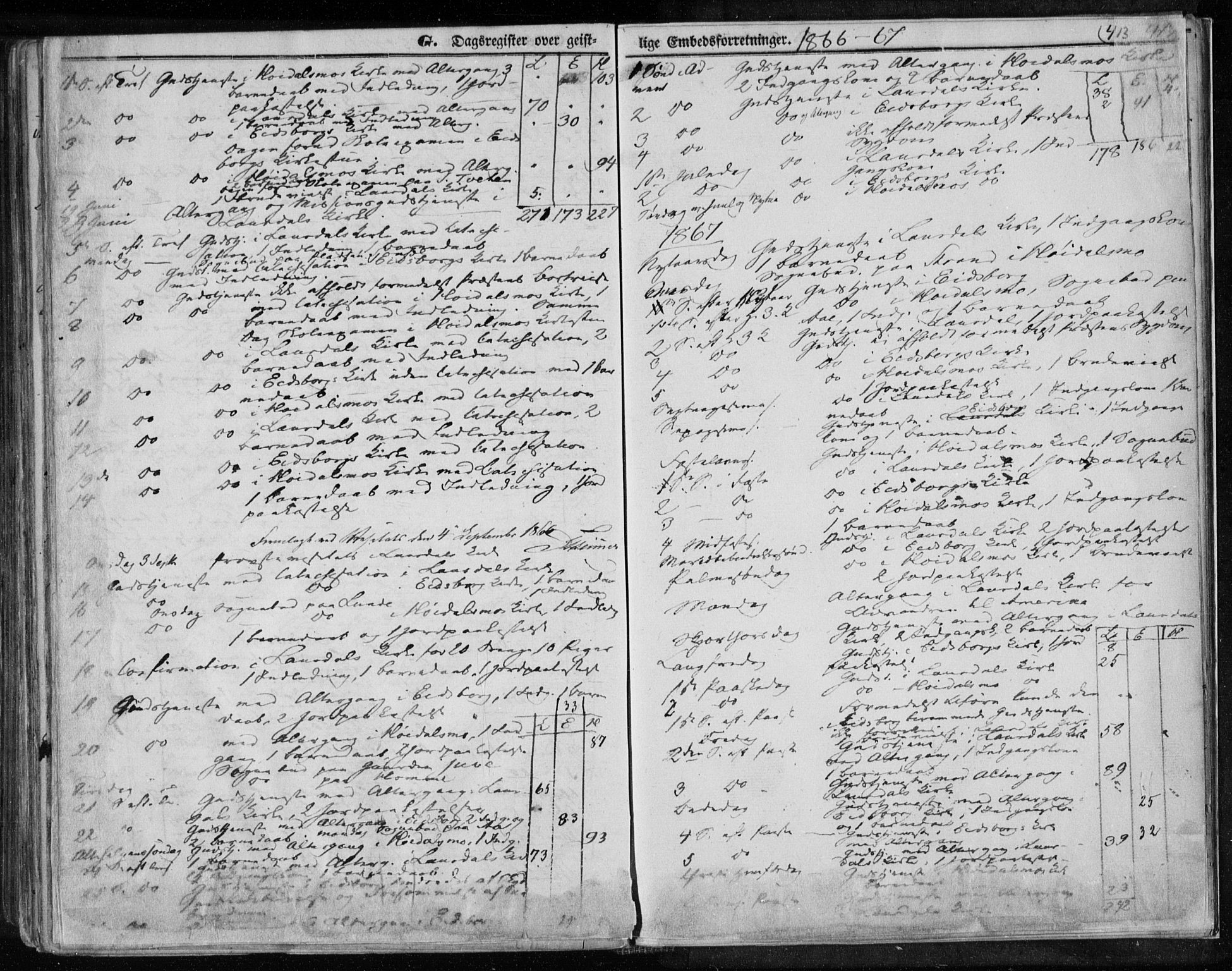 SAKO, Lårdal kirkebøker, F/Fa/L0006: Ministerialbok nr. I 6, 1861-1886, s. 413