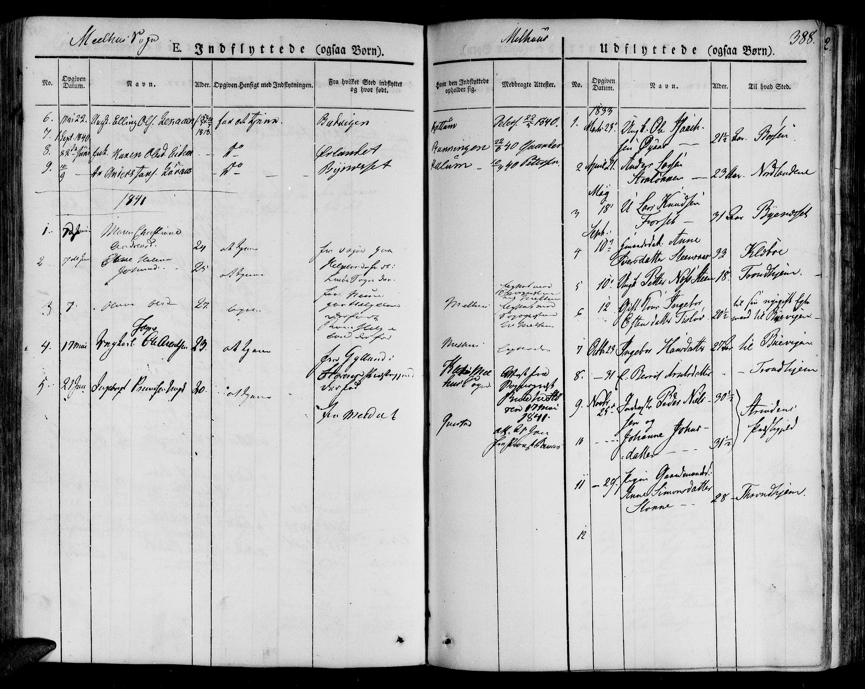 SAT, Ministerialprotokoller, klokkerbøker og fødselsregistre - Sør-Trøndelag, 691/L1070: Ministerialbok nr. 691A05 /1, 1826-1841, s. 388