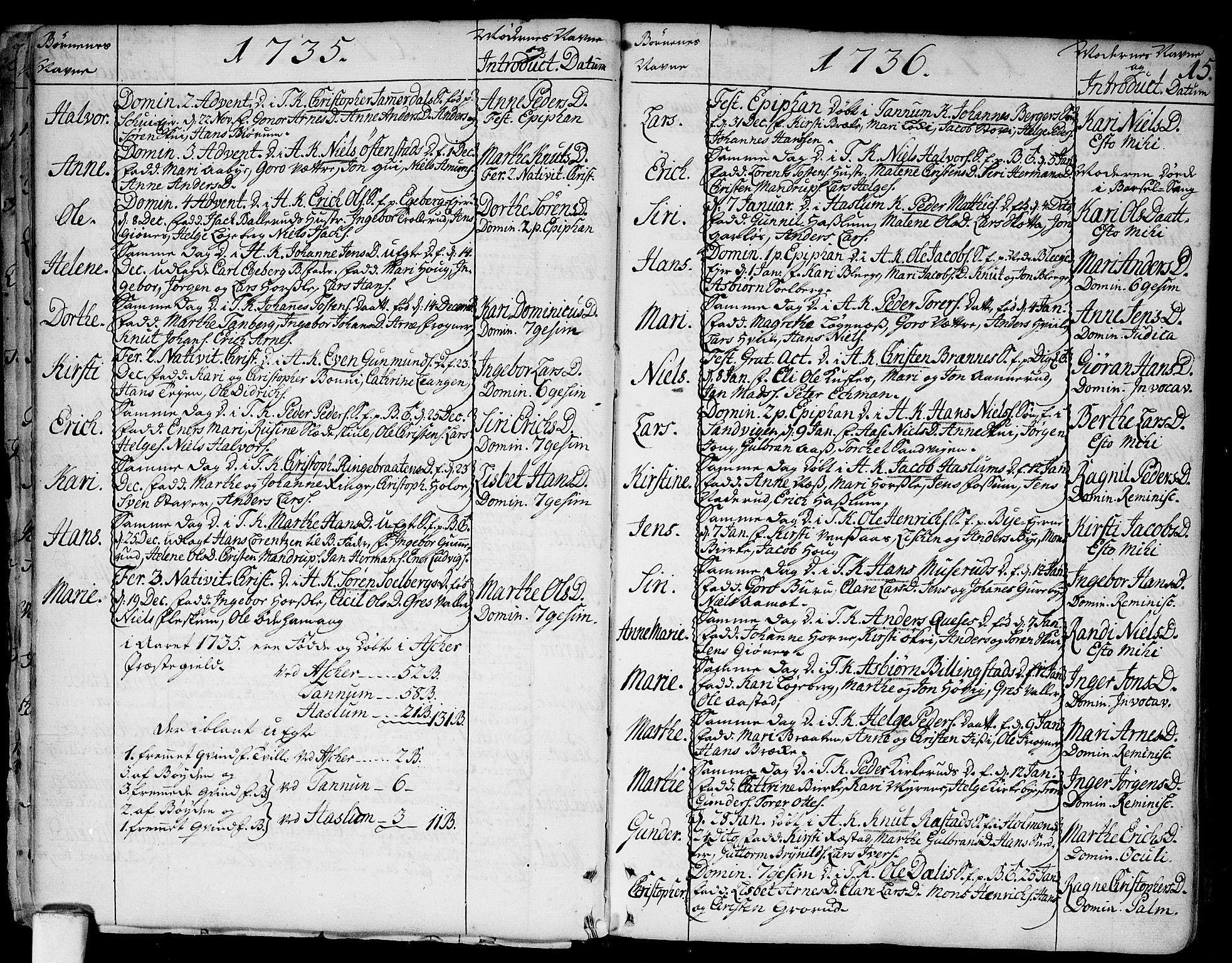 SAO, Asker prestekontor Kirkebøker, F/Fa/L0002: Ministerialbok nr. I 2, 1733-1766, s. 15