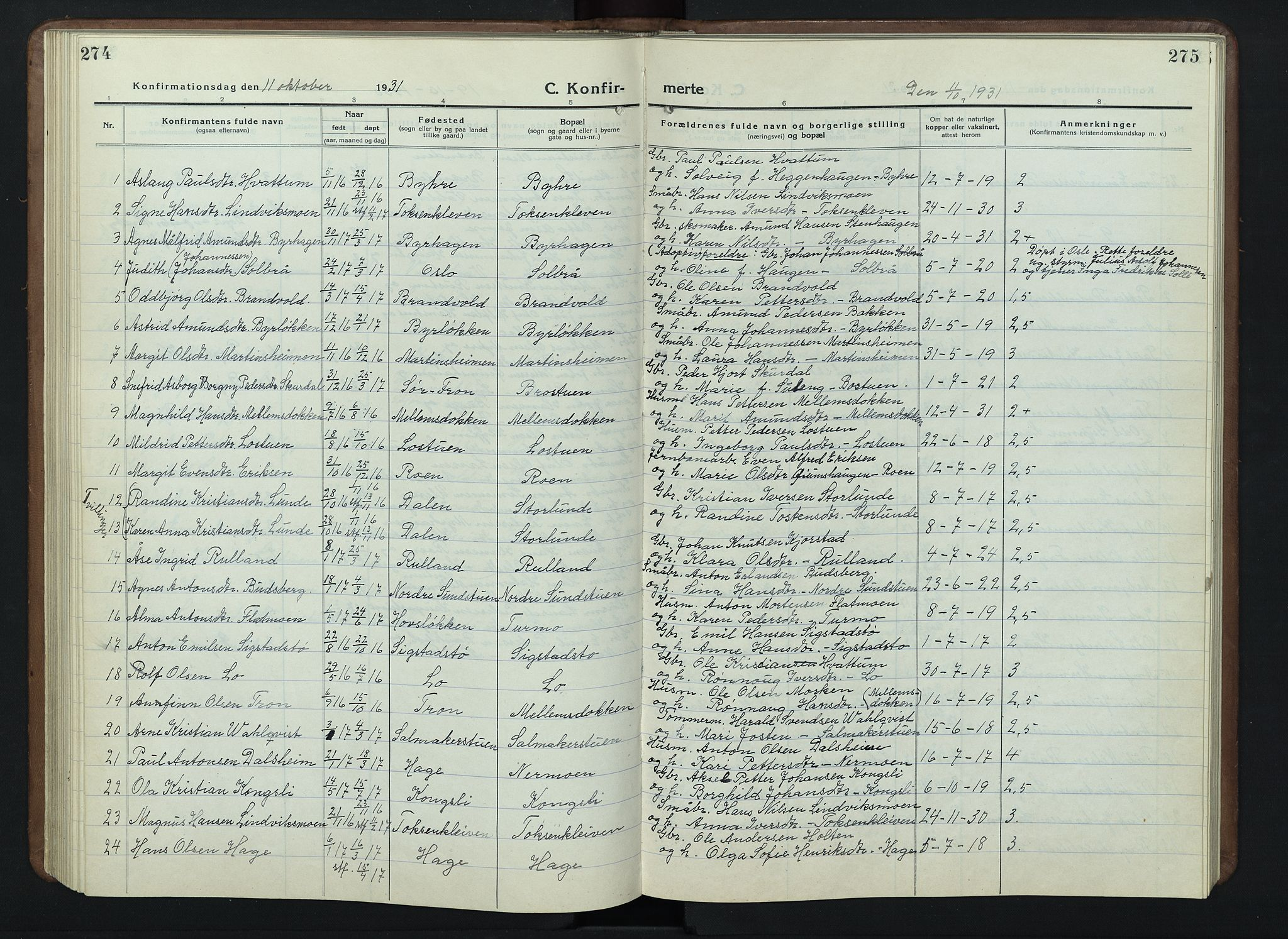 SAH, Nord-Fron prestekontor, Klokkerbok nr. 7, 1915-1946, s. 274-275