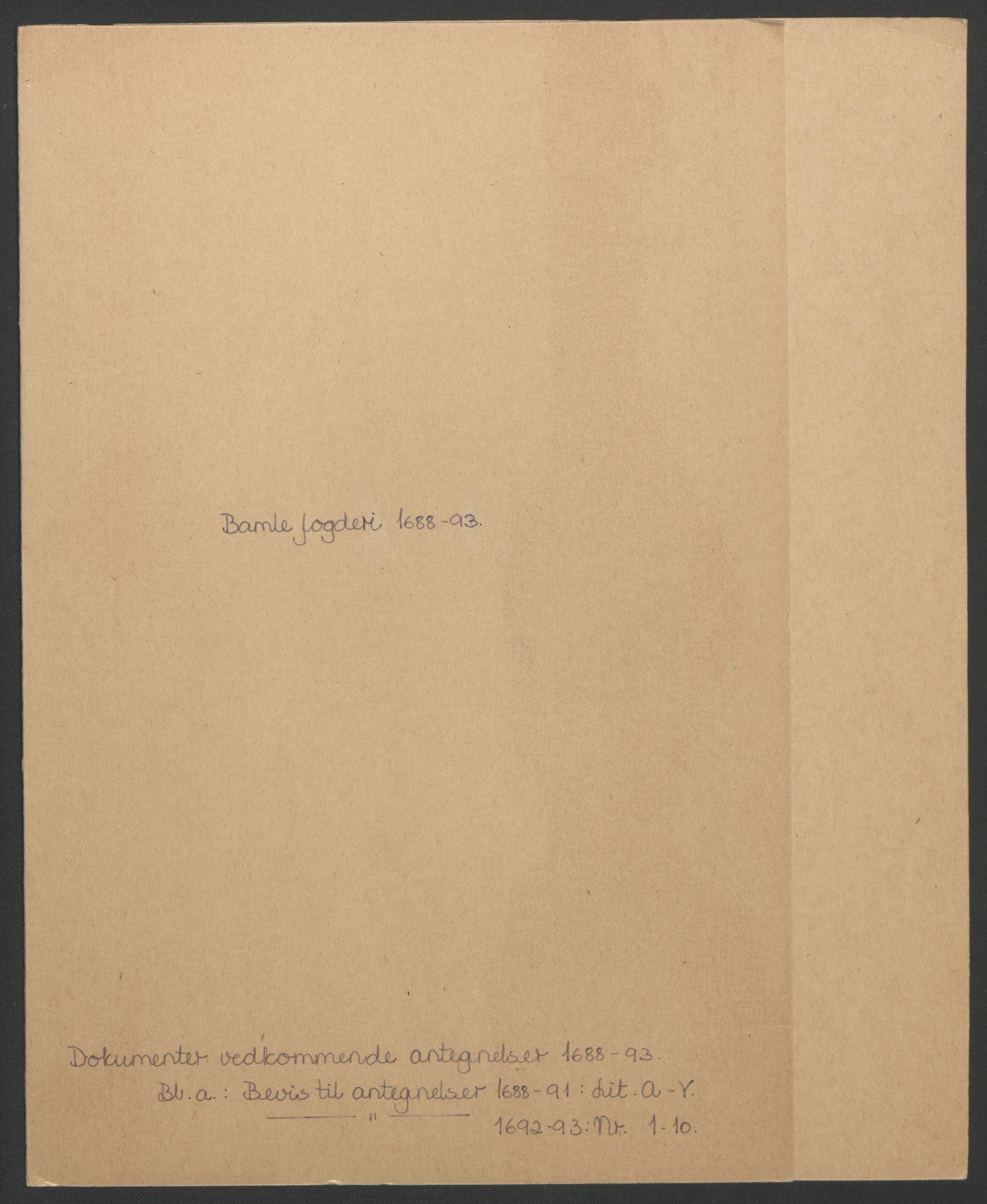 RA, Rentekammeret inntil 1814, Reviderte regnskaper, Fogderegnskap, R34/L2053: Fogderegnskap Bamble, 1693, s. 97