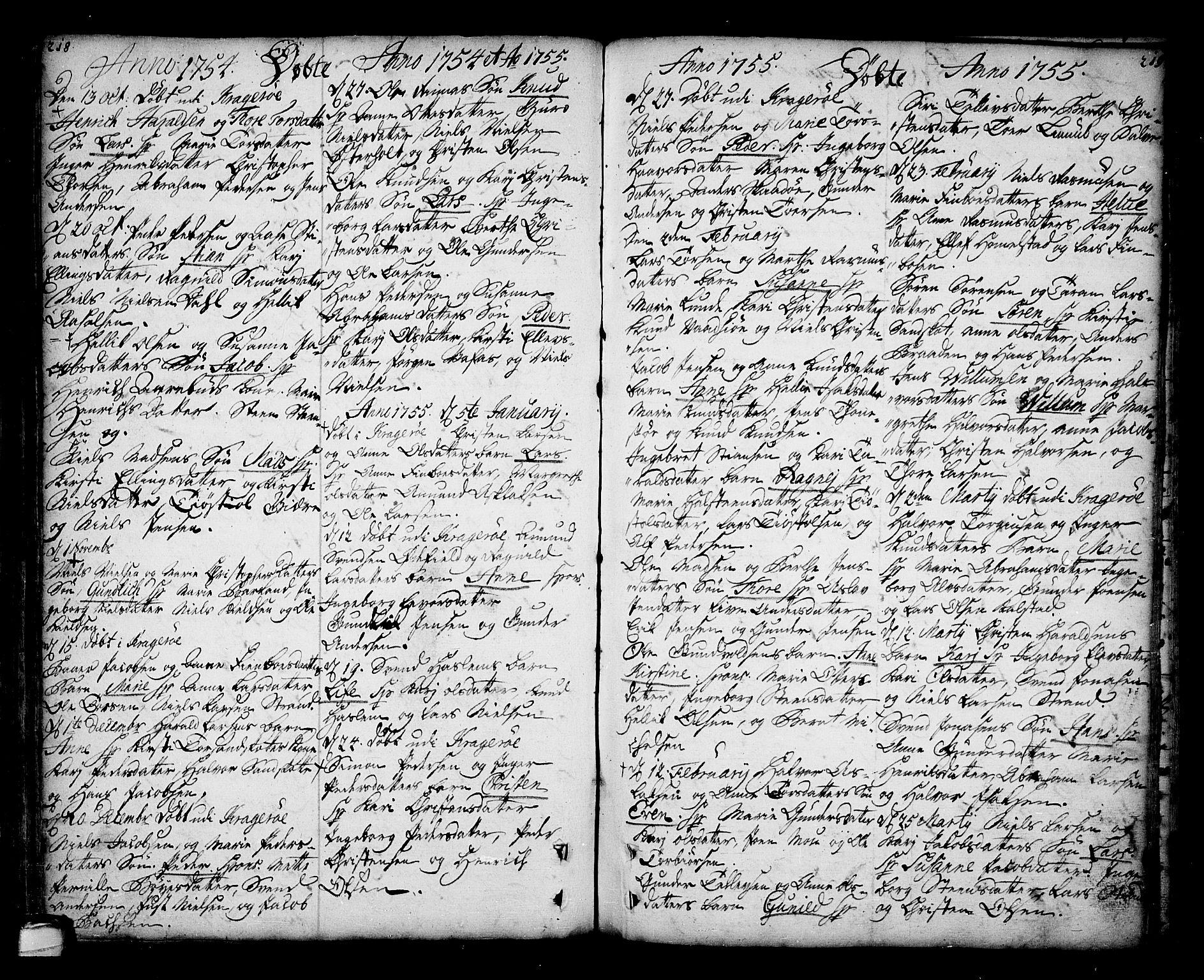 SAKO, Sannidal kirkebøker, F/Fa/L0001: Ministerialbok nr. 1, 1702-1766, s. 218-219