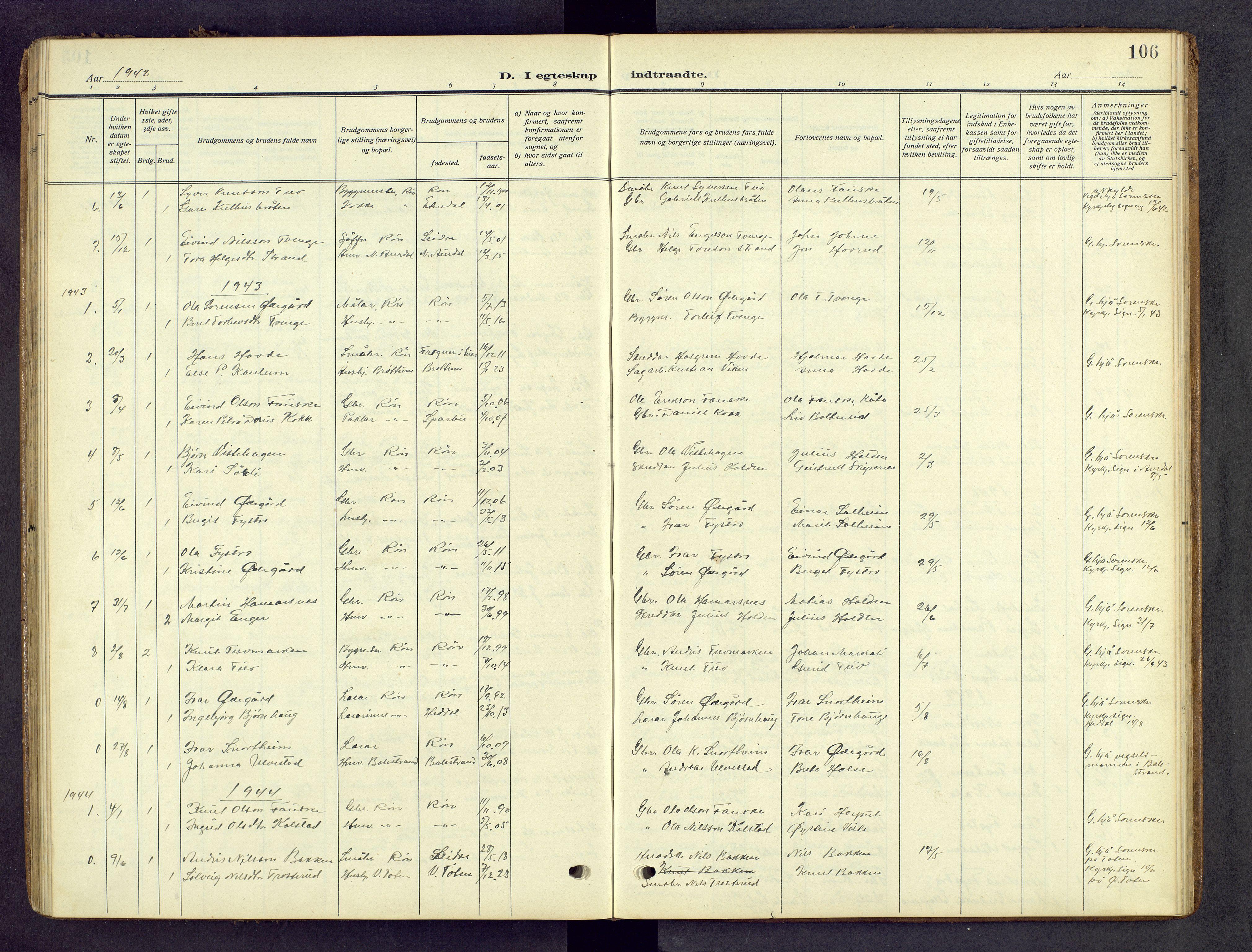 SAH, Vestre Slidre prestekontor, Klokkerbok nr. 8, 1909-1952, s. 106
