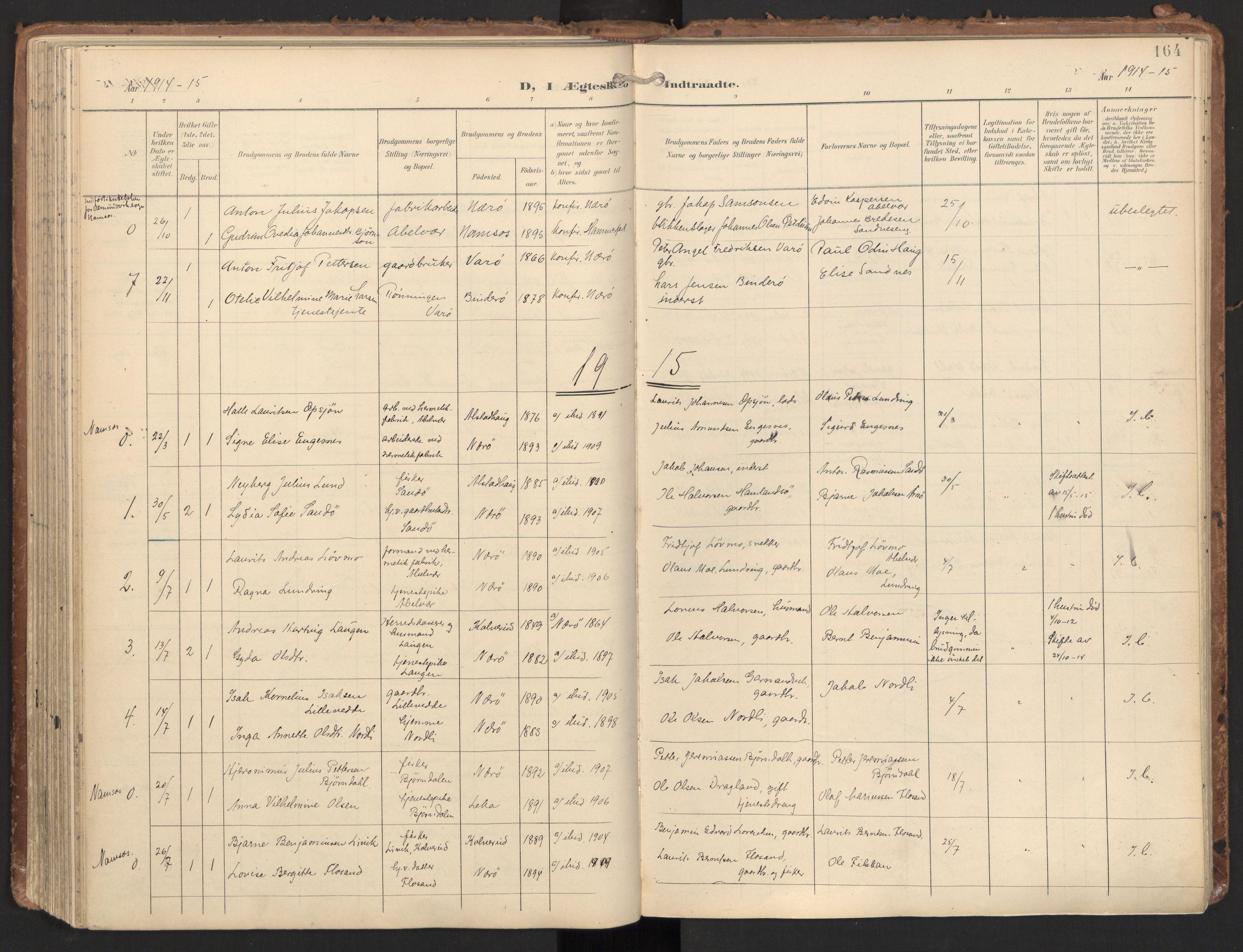 SAT, Ministerialprotokoller, klokkerbøker og fødselsregistre - Nord-Trøndelag, 784/L0677: Ministerialbok nr. 784A12, 1900-1920, s. 164