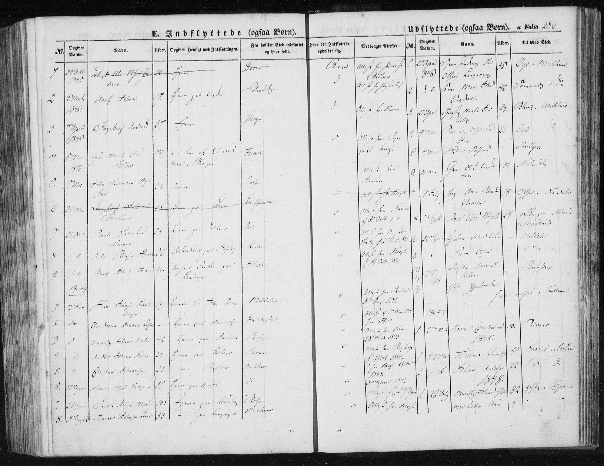 SAT, Ministerialprotokoller, klokkerbøker og fødselsregistre - Sør-Trøndelag, 612/L0376: Ministerialbok nr. 612A08, 1846-1859, s. 280