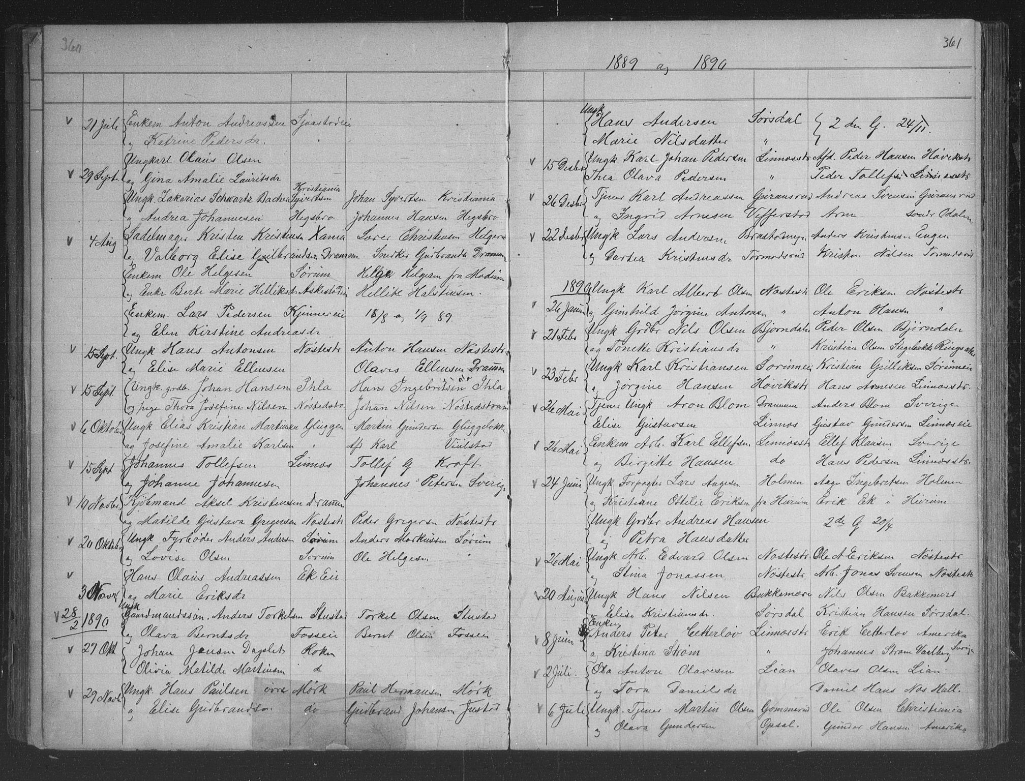 SAKO, Lier kirkebøker, G/Gb/L0001: Klokkerbok nr. II 1, 1874-1898, s. 360-361