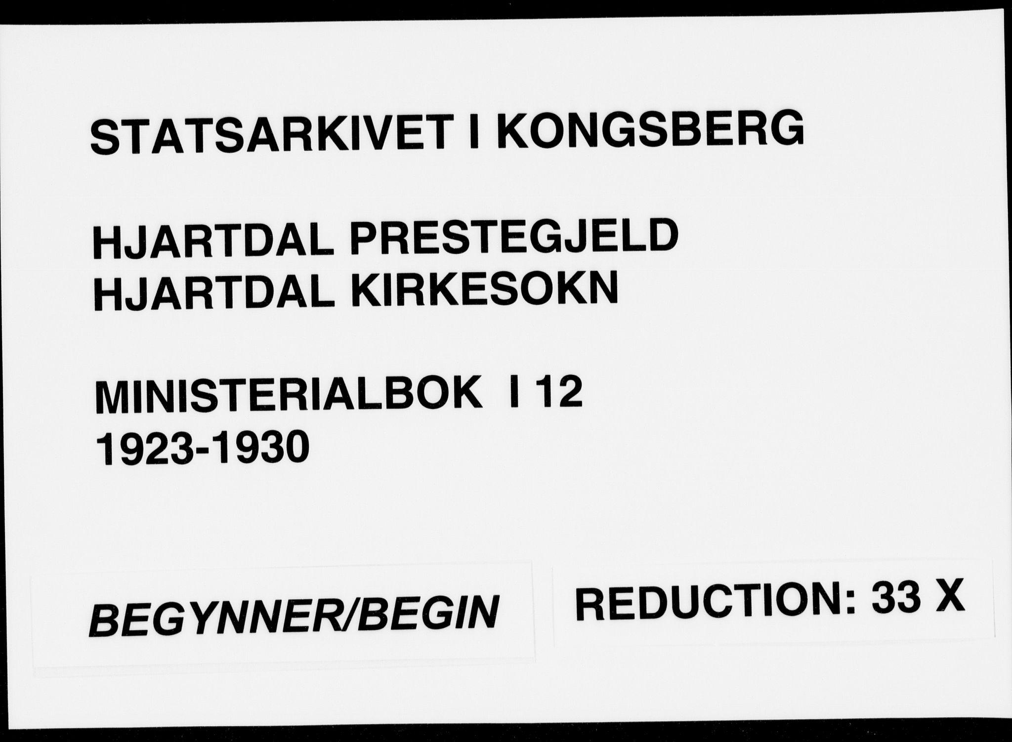 SAKO, Hjartdal kirkebøker, F/Fa/L0012: Ministerialbok nr. I 12, 1923-1930