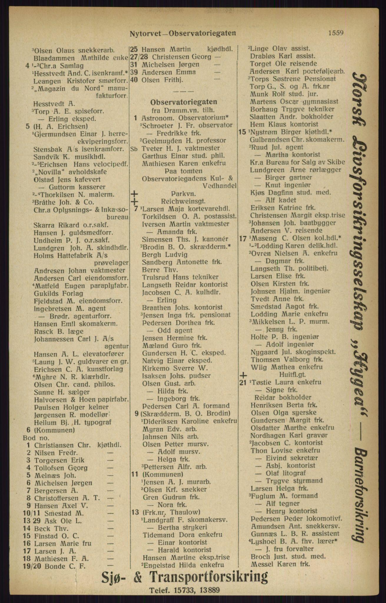 RA, Kristiania adressebok (publikasjon)*, 1916, s. 1559