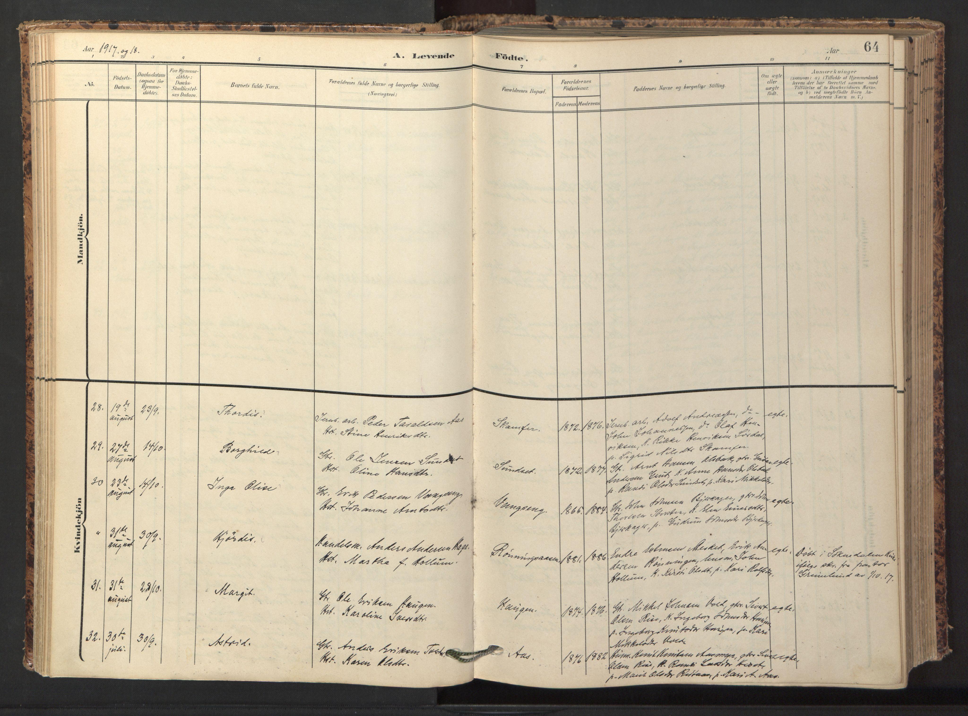 SAT, Ministerialprotokoller, klokkerbøker og fødselsregistre - Sør-Trøndelag, 674/L0873: Ministerialbok nr. 674A05, 1908-1923, s. 64