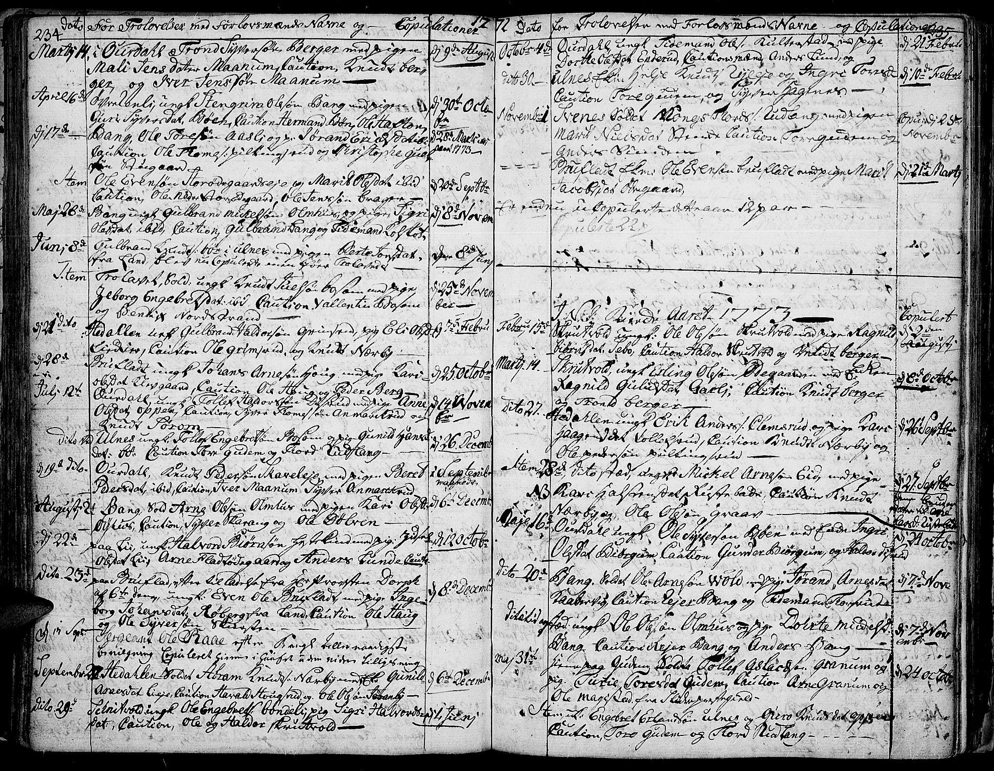SAH, Aurdal prestekontor, Ministerialbok nr. 5, 1763-1781, s. 234-235