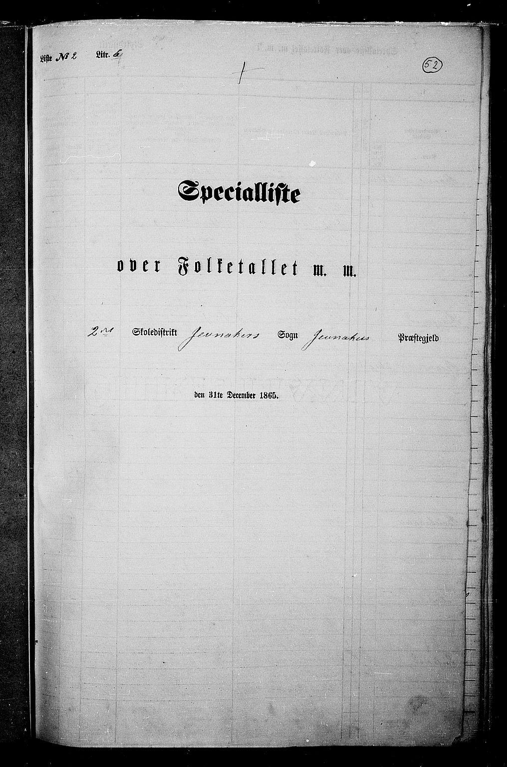RA, Folketelling 1865 for 0532P Jevnaker prestegjeld, 1865, s. 50