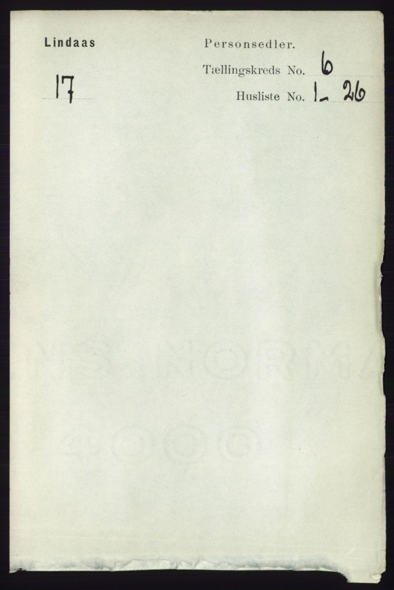 RA, Folketelling 1891 for 1263 Lindås herred, 1891, s. 1847