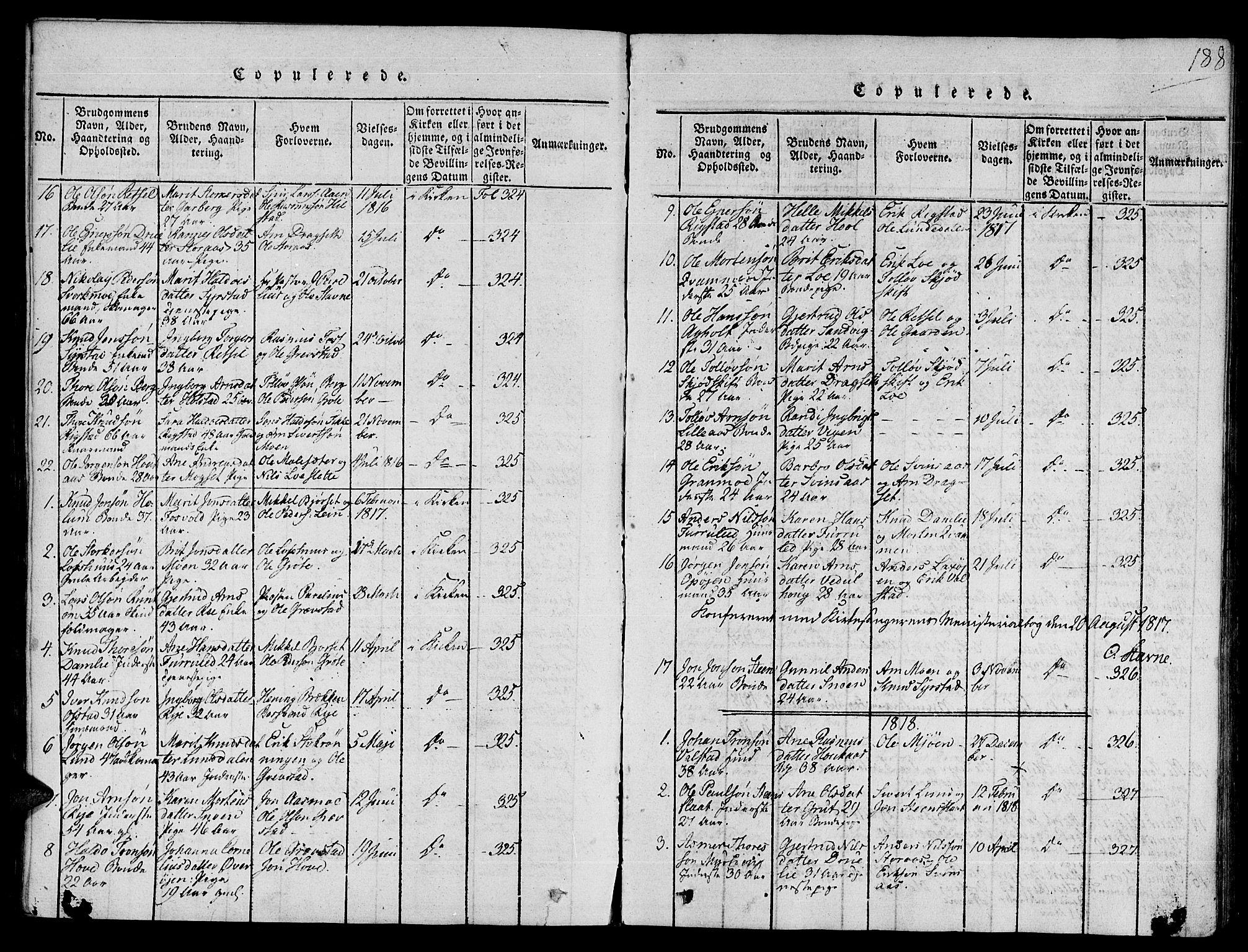 SAT, Ministerialprotokoller, klokkerbøker og fødselsregistre - Sør-Trøndelag, 672/L0853: Ministerialbok nr. 672A06 /1, 1816-1829, s. 188