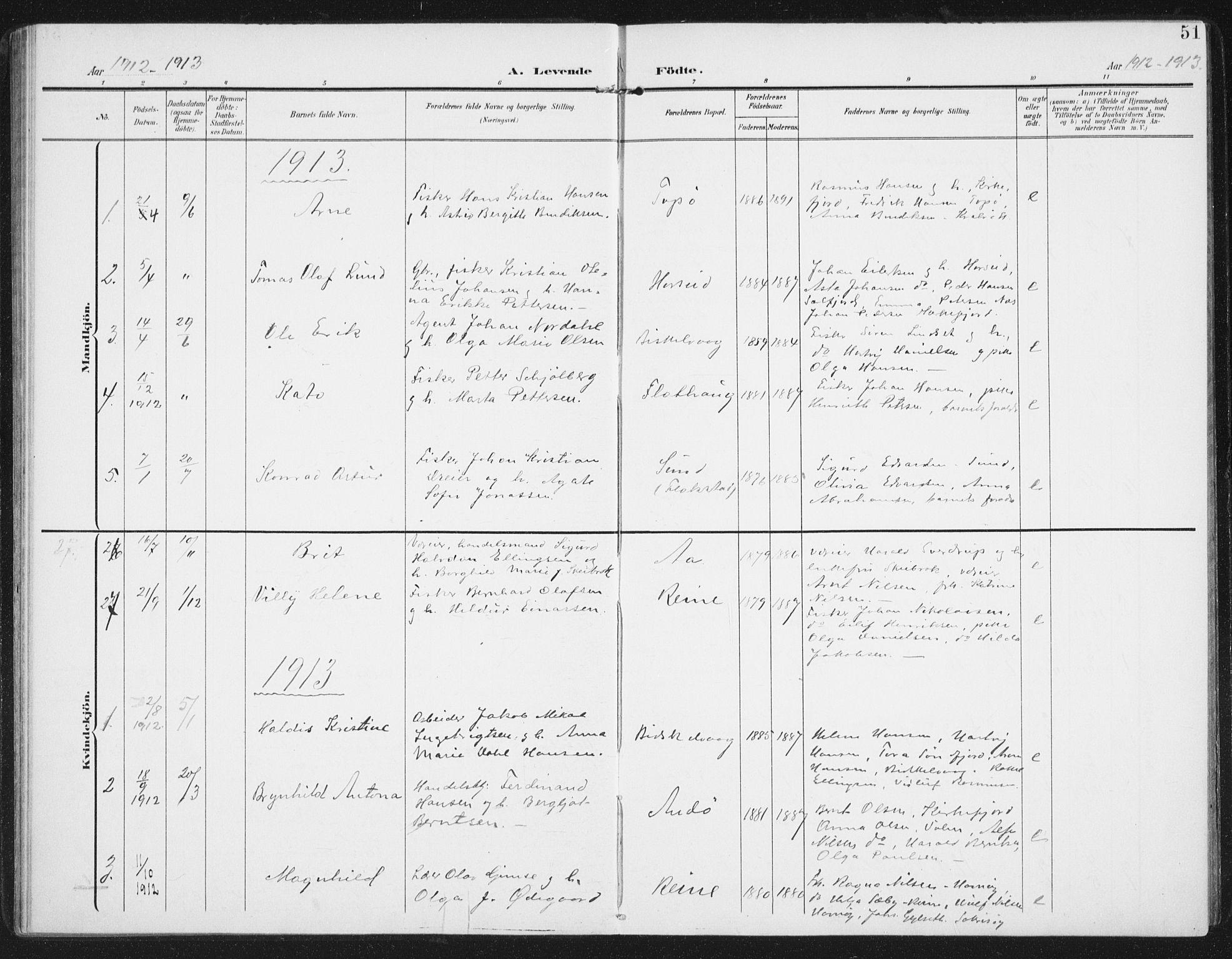 SAT, Ministerialprotokoller, klokkerbøker og fødselsregistre - Nordland, 886/L1221: Ministerialbok nr. 886A03, 1903-1913, s. 51