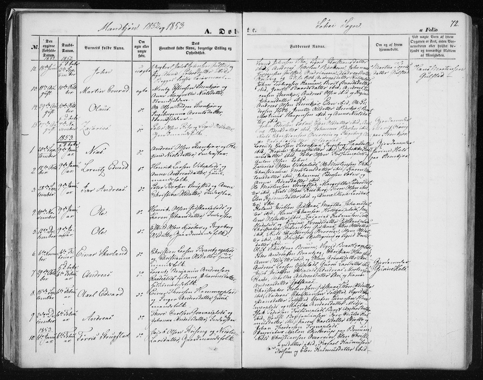 SAT, Ministerialprotokoller, klokkerbøker og fødselsregistre - Nord-Trøndelag, 735/L0342: Ministerialbok nr. 735A07 /2, 1849-1862, s. 72