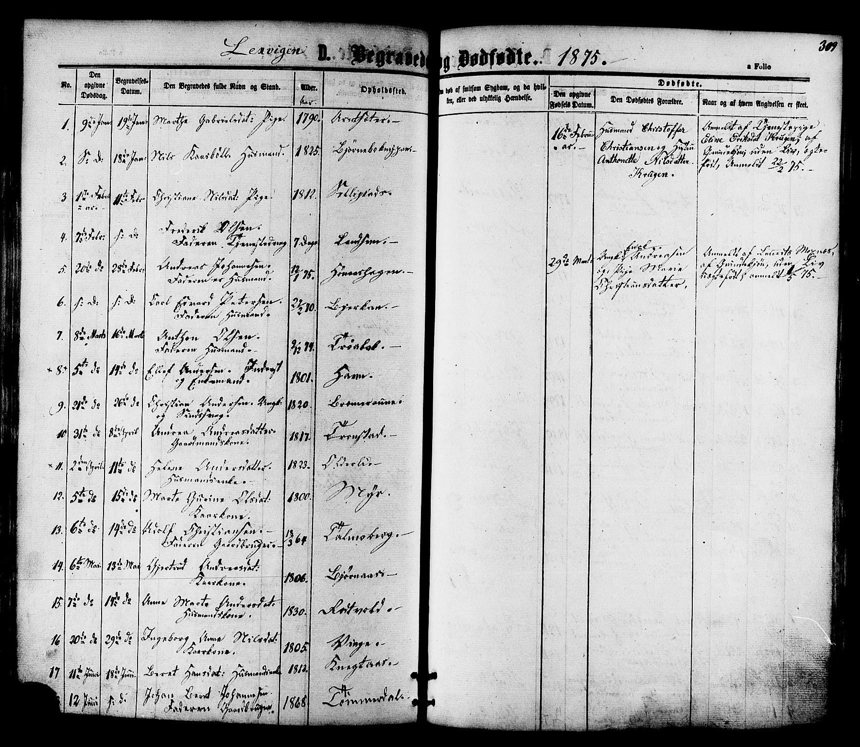 SAT, Ministerialprotokoller, klokkerbøker og fødselsregistre - Nord-Trøndelag, 701/L0009: Ministerialbok nr. 701A09 /1, 1864-1882, s. 309