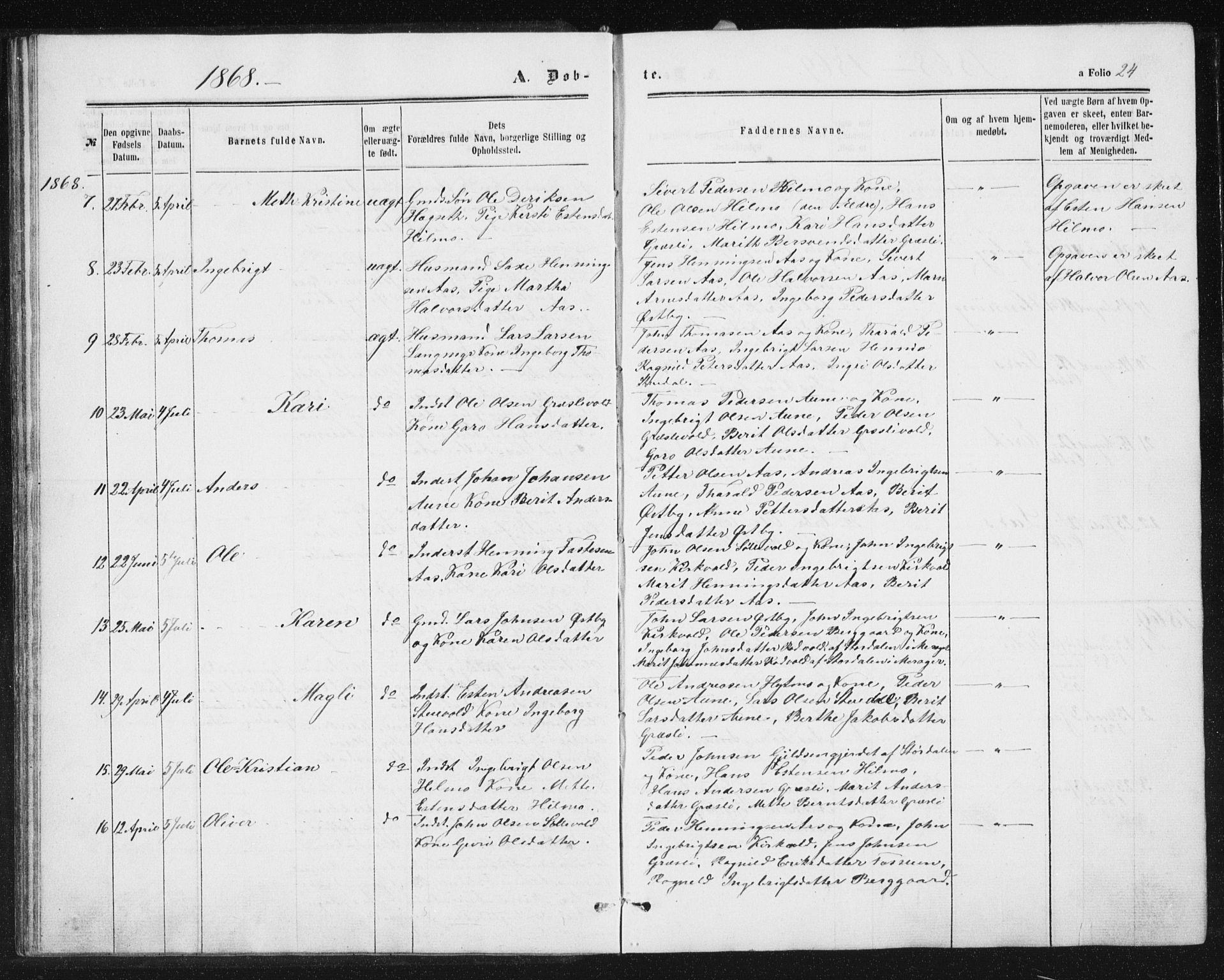 SAT, Ministerialprotokoller, klokkerbøker og fødselsregistre - Sør-Trøndelag, 698/L1166: Klokkerbok nr. 698C03, 1861-1887, s. 24