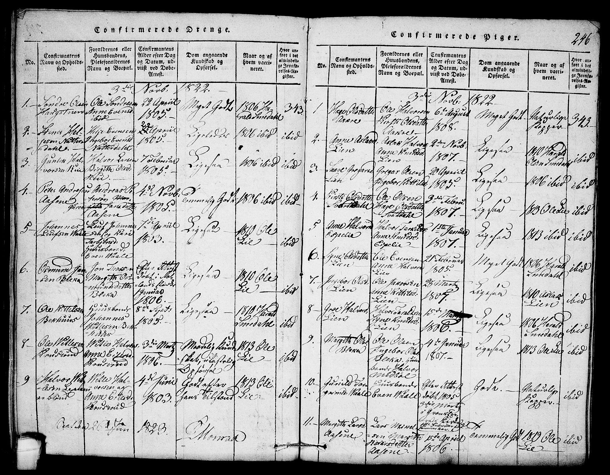 SAKO, Seljord kirkebøker, F/Fb/L0001: Ministerialbok nr. II 1, 1815-1831, s. 246