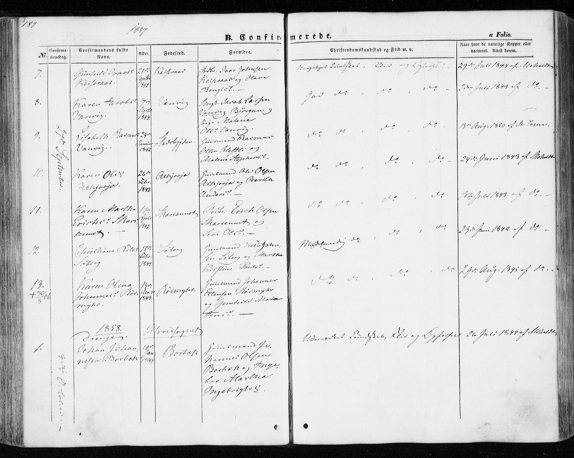 SAT, Ministerialprotokoller, klokkerbøker og fødselsregistre - Nord-Trøndelag, 701/L0008: Ministerialbok nr. 701A08 /1, 1854-1863, s. 189
