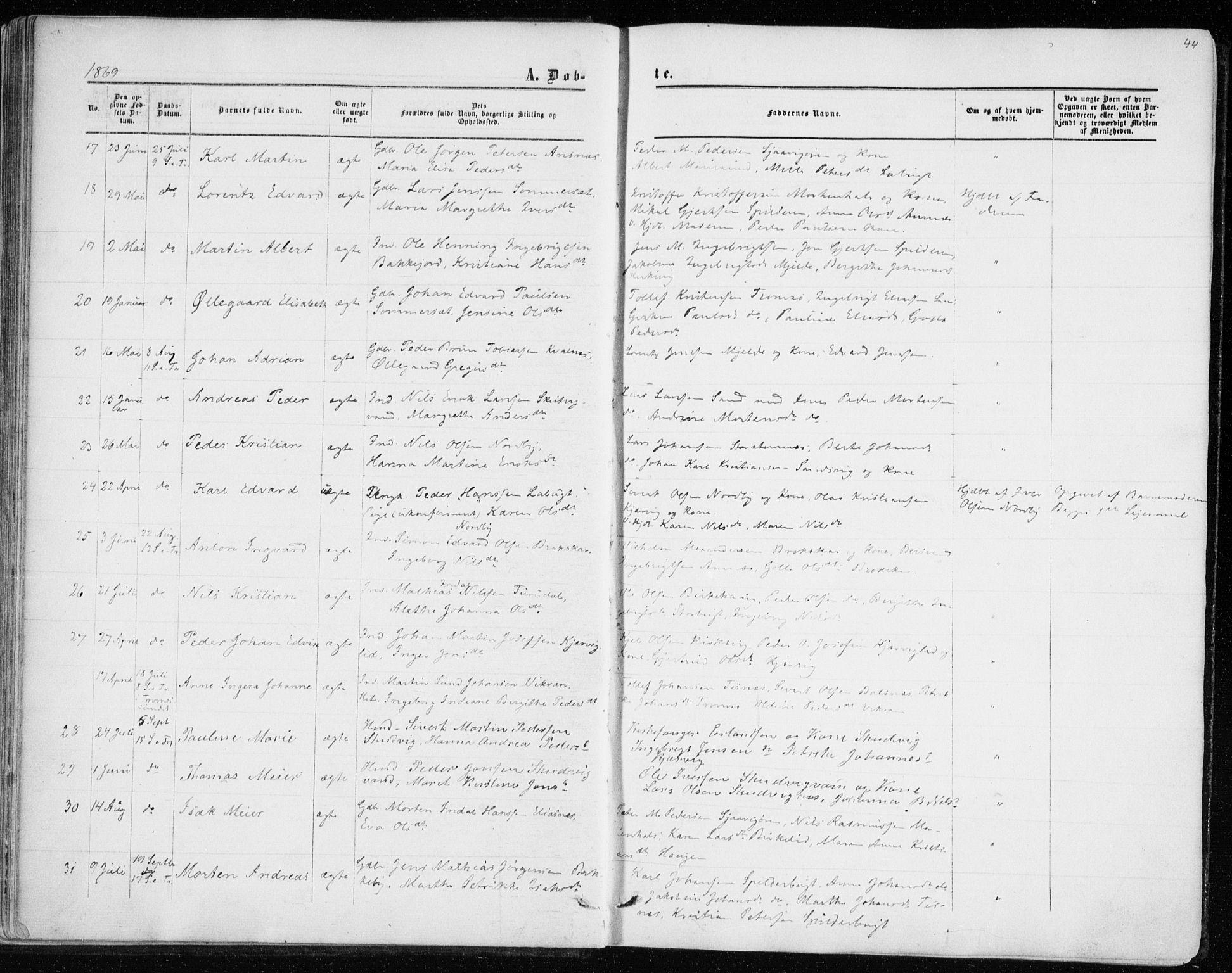 SATØ, Balsfjord sokneprestembete, G/Ga/L0001kirke: Ministerialbok nr. 1, 1858-1870, s. 44