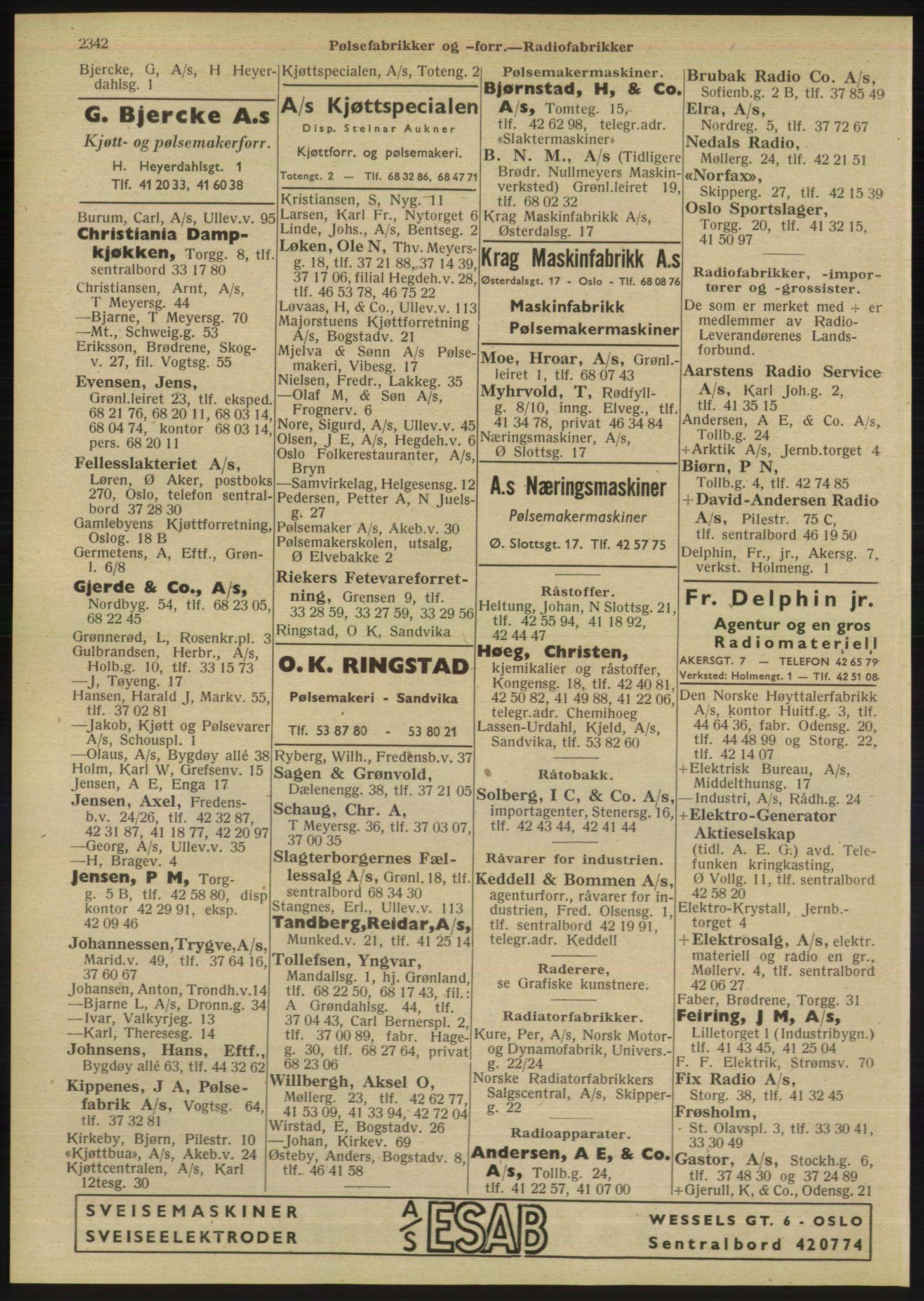 RA, Oslo adressebok (publikasjon)*, 1947, s. 2342