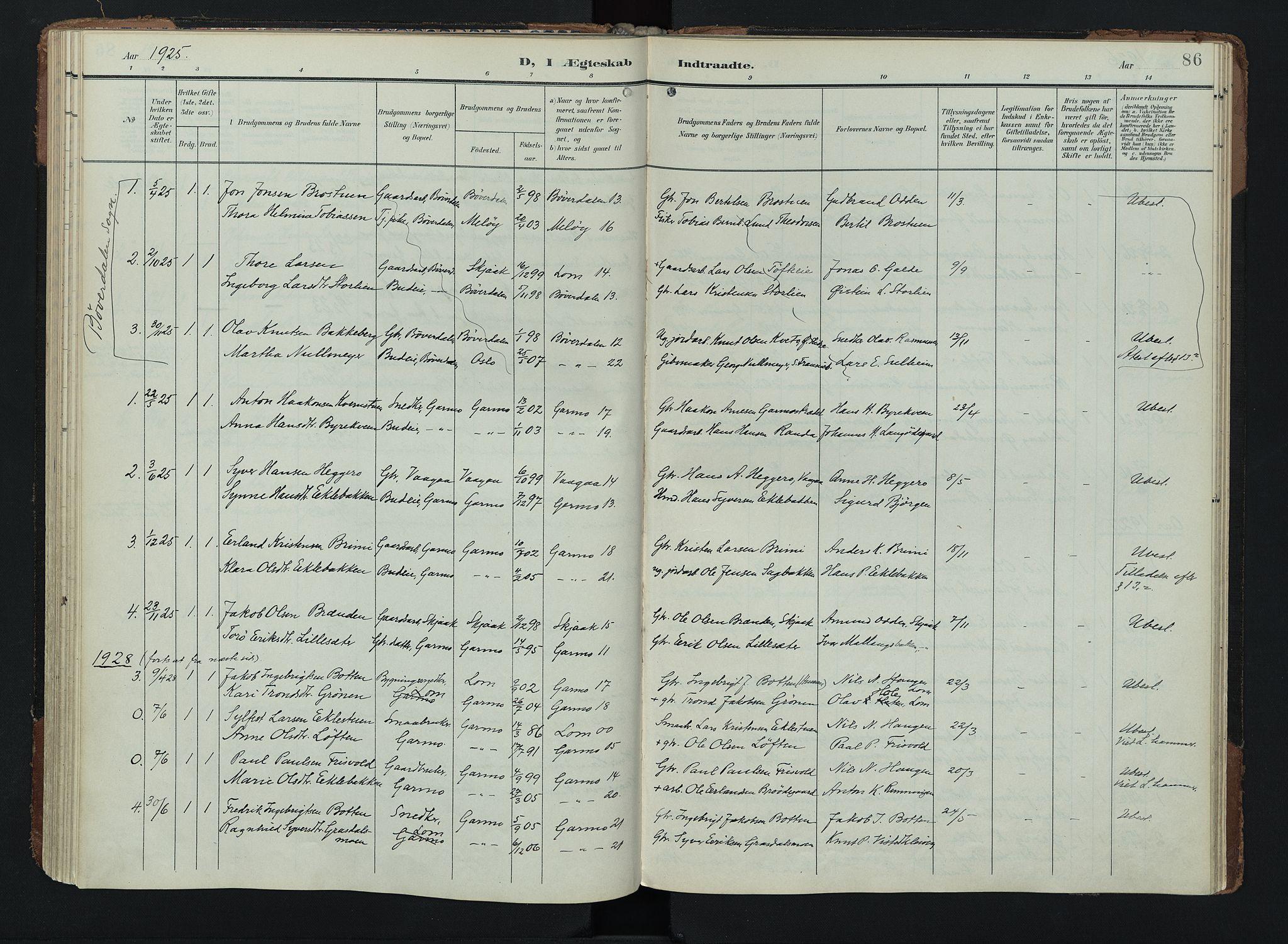SAH, Lom prestekontor, K/L0011: Ministerialbok nr. 11, 1904-1928, s. 86