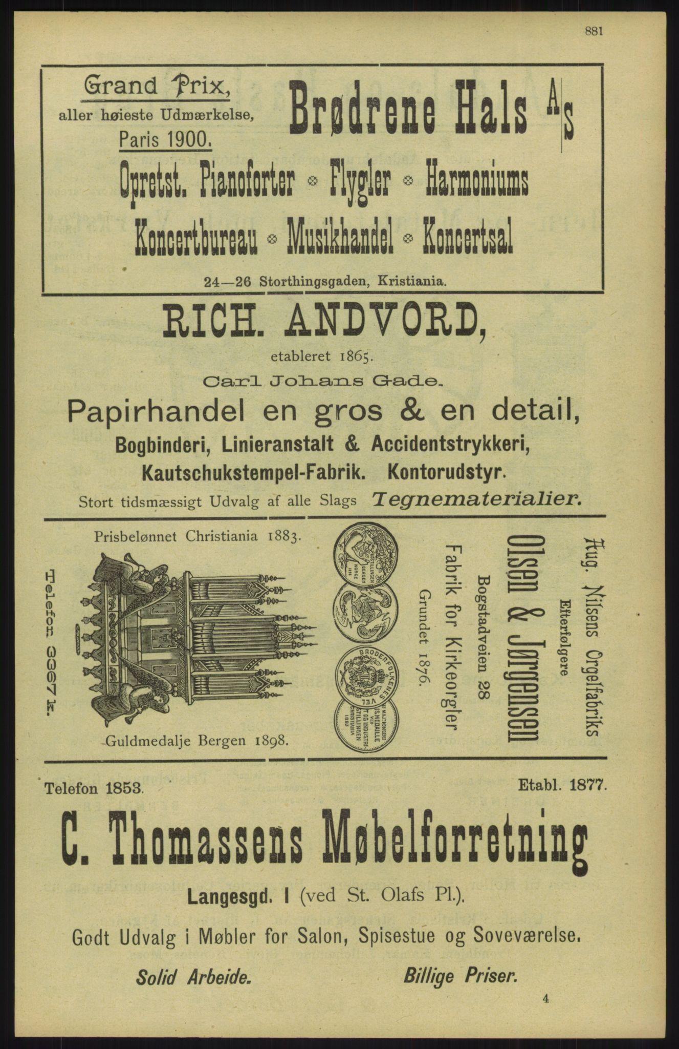 RA, Kristiania adressebok (publikasjon)*, 1904, s. 881