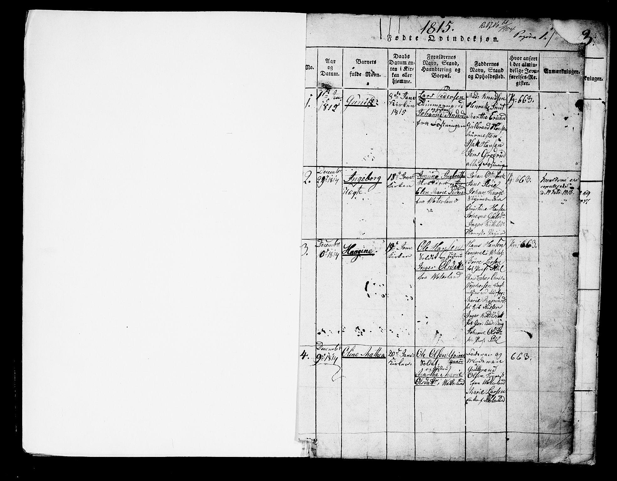 SAO, Garnisonsmenigheten Kirkebøker, G/Ga/L0003: Klokkerbok nr. 3, 1815-1819, s. 0-1