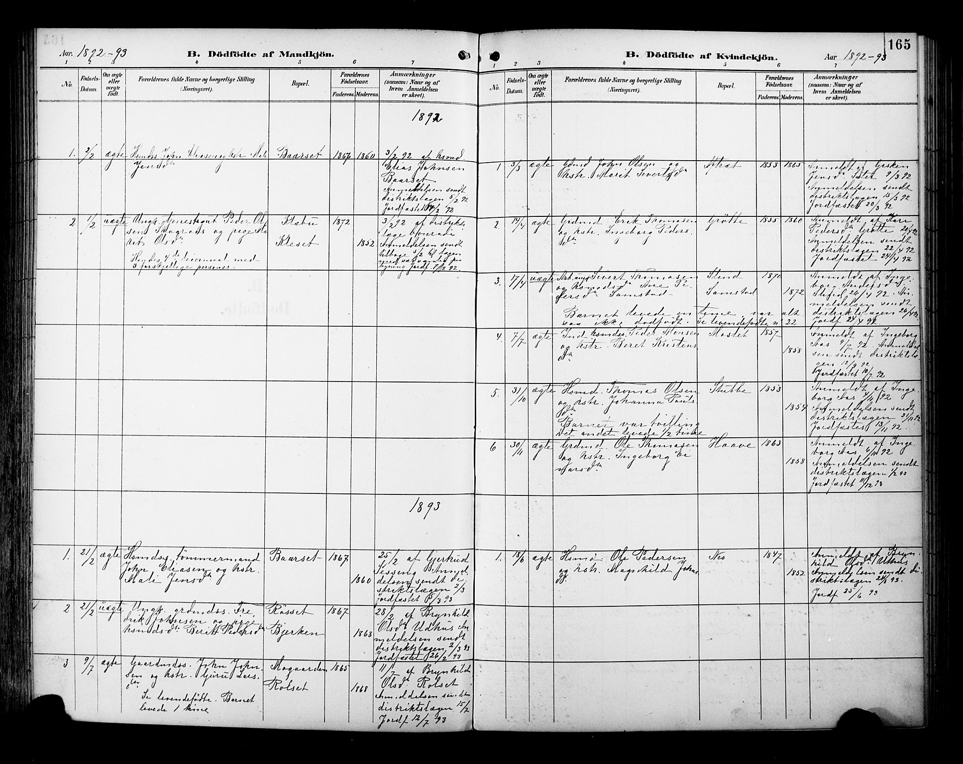 SAT, Ministerialprotokoller, klokkerbøker og fødselsregistre - Sør-Trøndelag, 695/L1149: Ministerialbok nr. 695A09, 1891-1902, s. 165